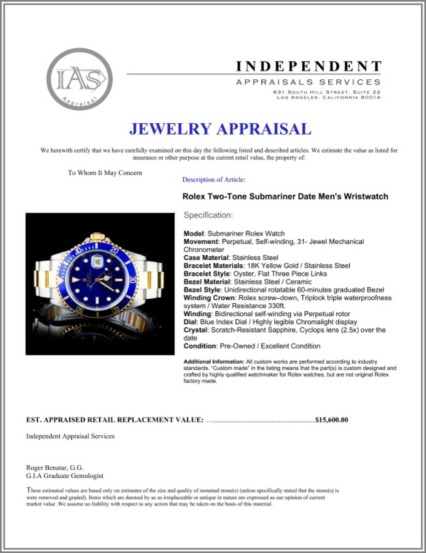 Rolex YG/SS Submariner 40MM Wristwatch - Image 5 of 5