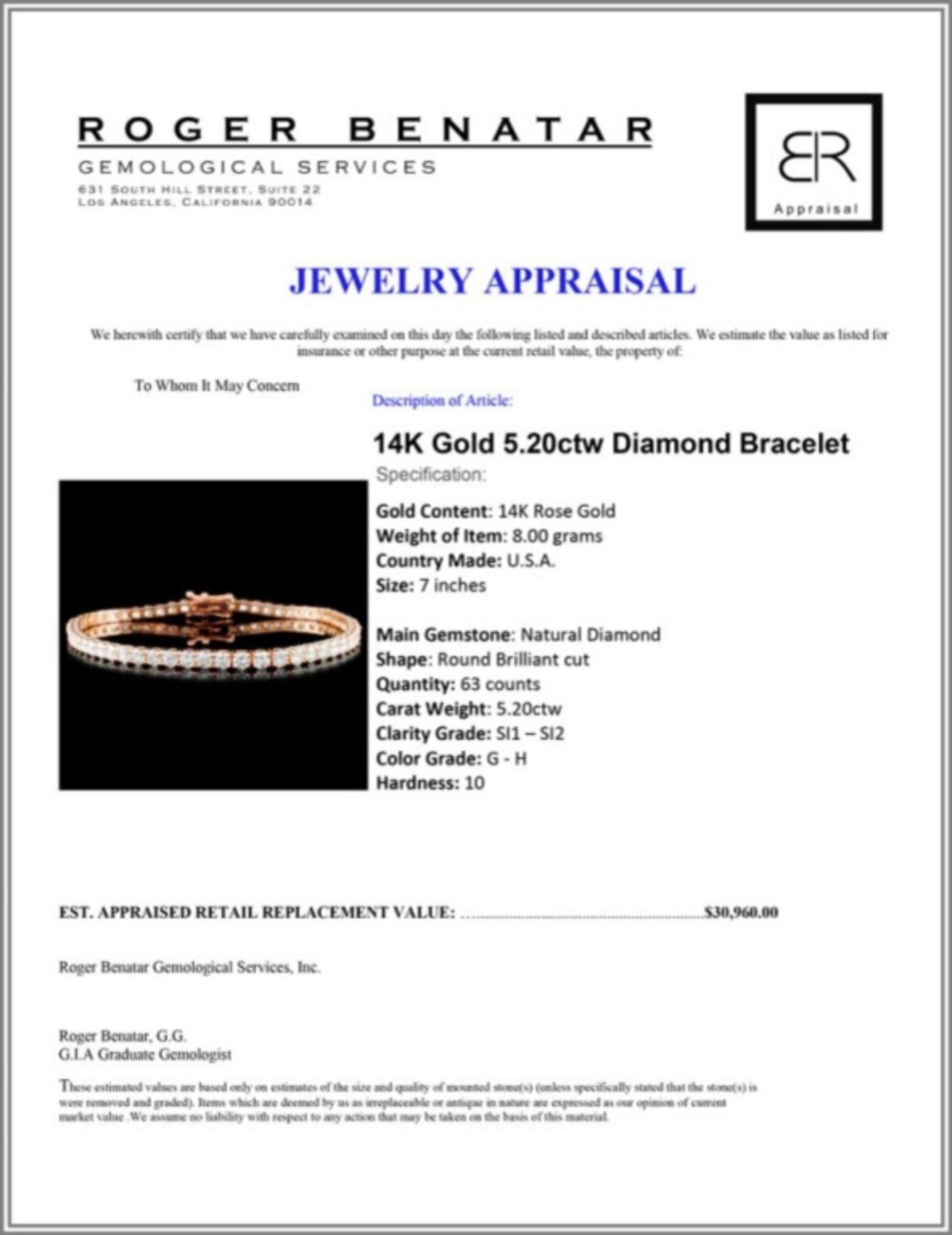 14K Gold 5.20ctw Diamond Bracelet - Image 3 of 3