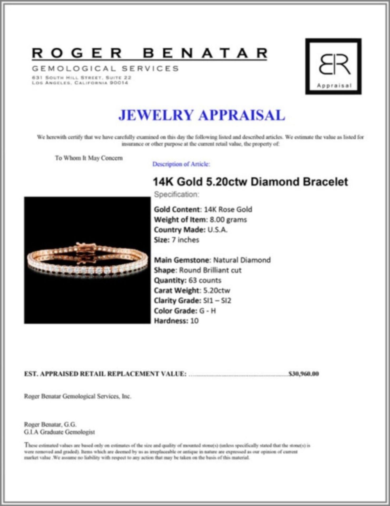 14K Gold 5.20ctw Diamond Bracelet - Image 3 of 3