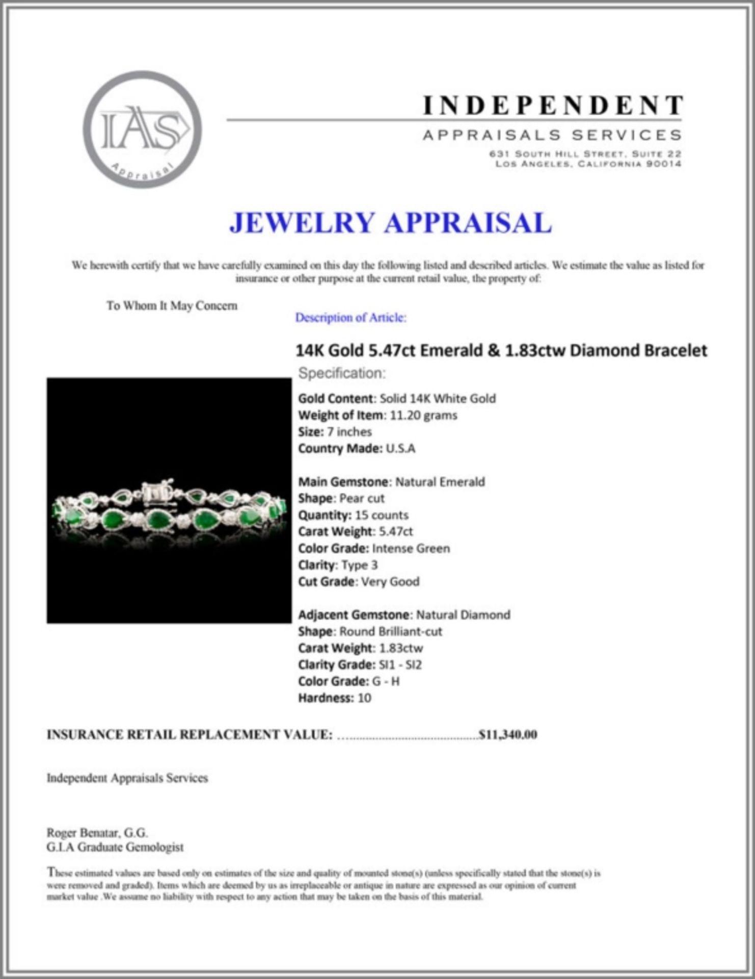 14K Gold 5.47ct Emerald & 1.83ctw Diamond Bracelet - Image 4 of 4