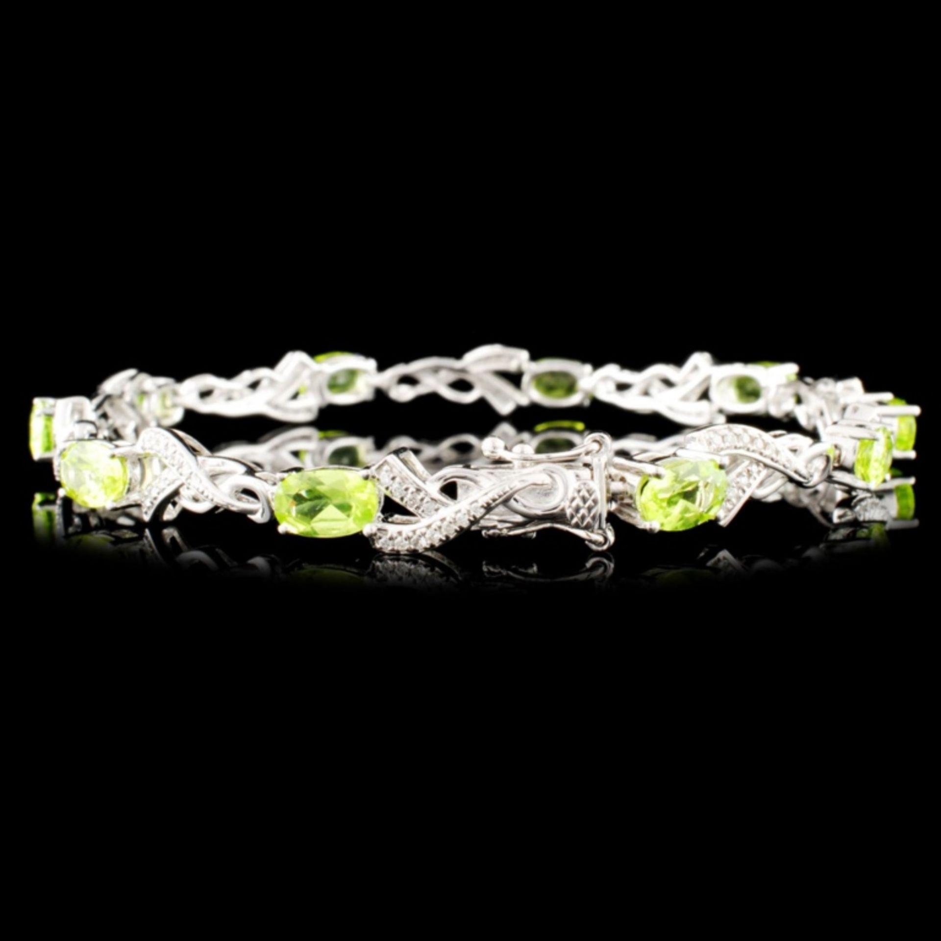 14K Gold 4.60ct Peridot & 0.31ctw Diamond Bracelet - Image 2 of 4