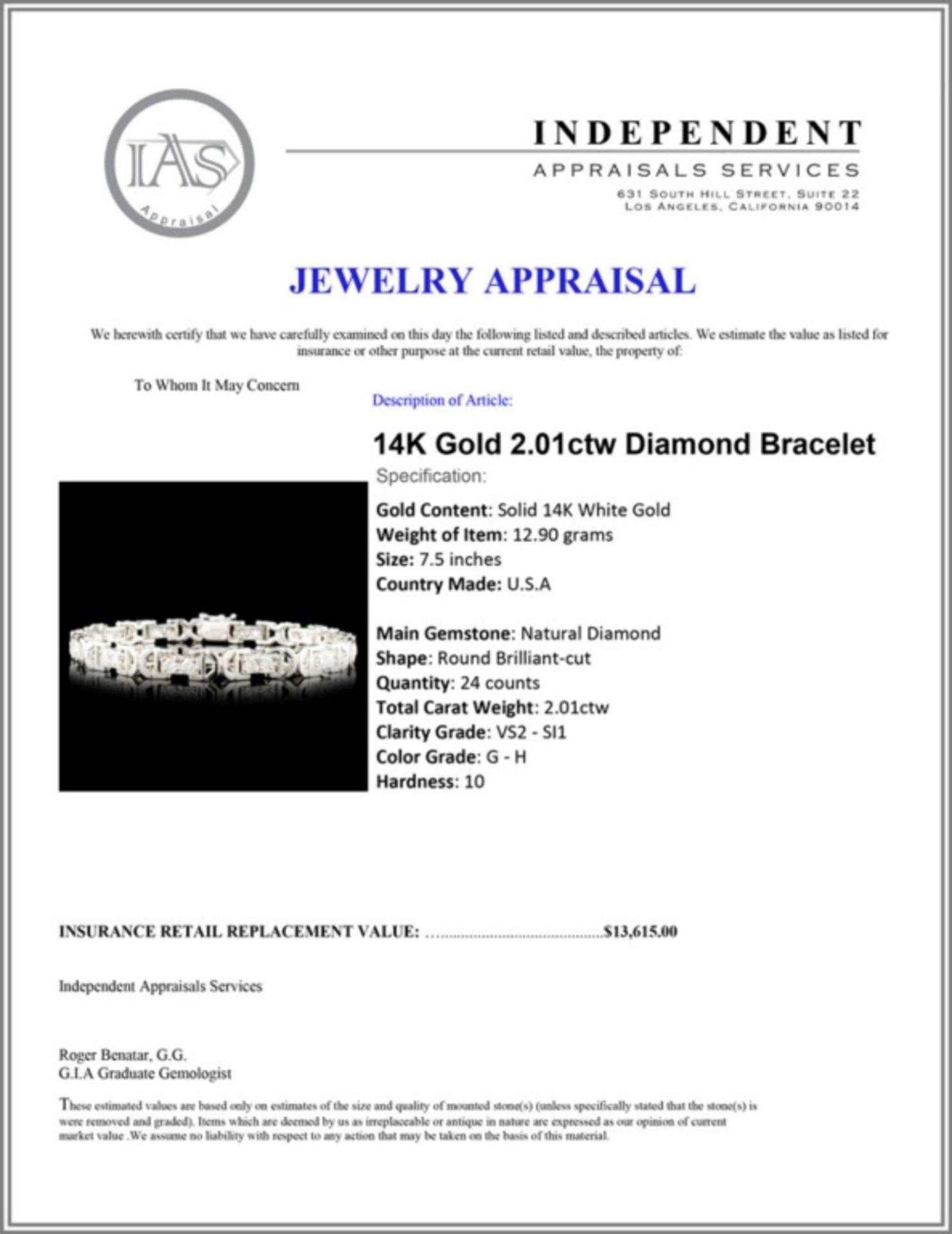 14K Gold 2.01ctw Diamond Bracelet - Image 4 of 4