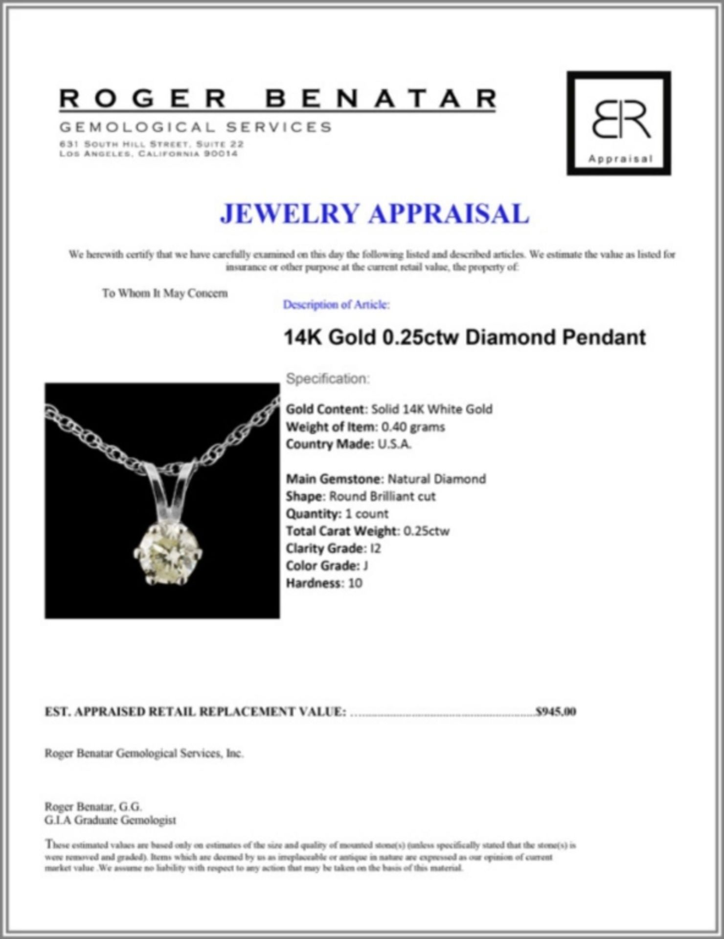 14K Gold 0.25ctw Diamond Pendant - Image 3 of 3