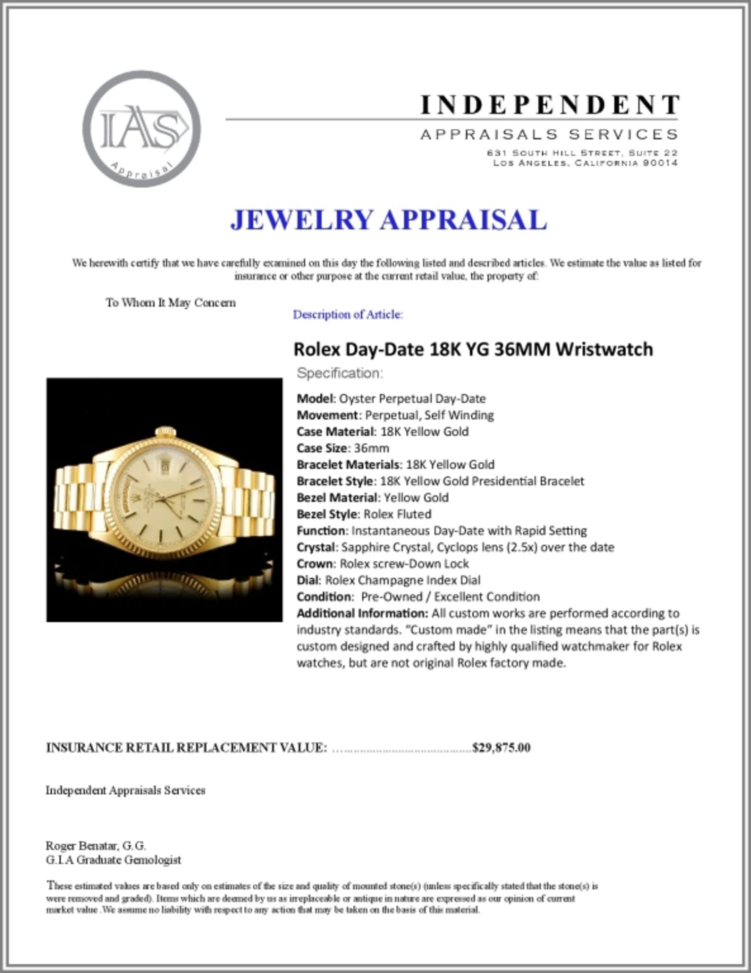 Rolex Day-Date 18K YG 36MM Wristwatch - Image 6 of 6