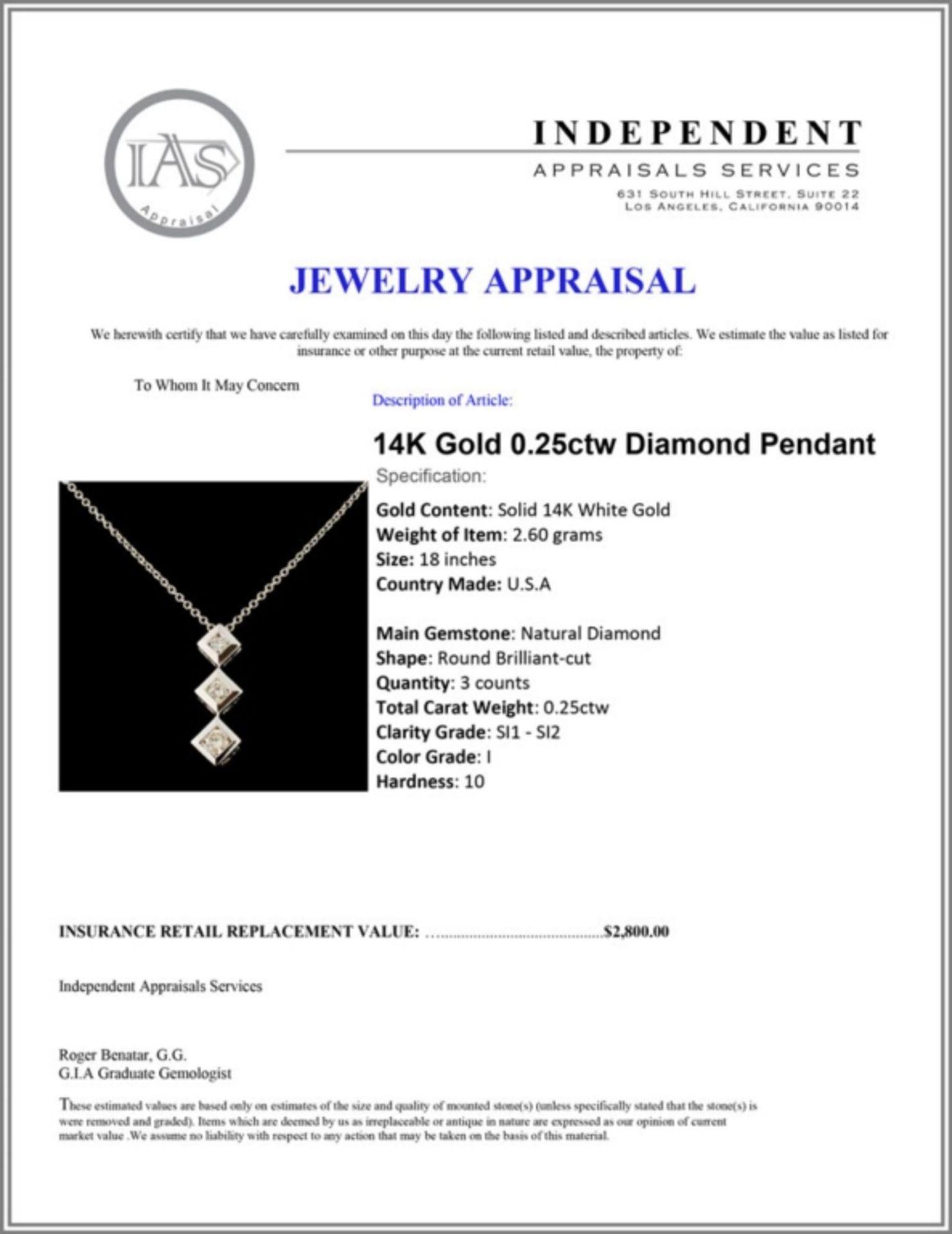 14K Gold 0.25ctw Diamond Pendant - Image 4 of 4