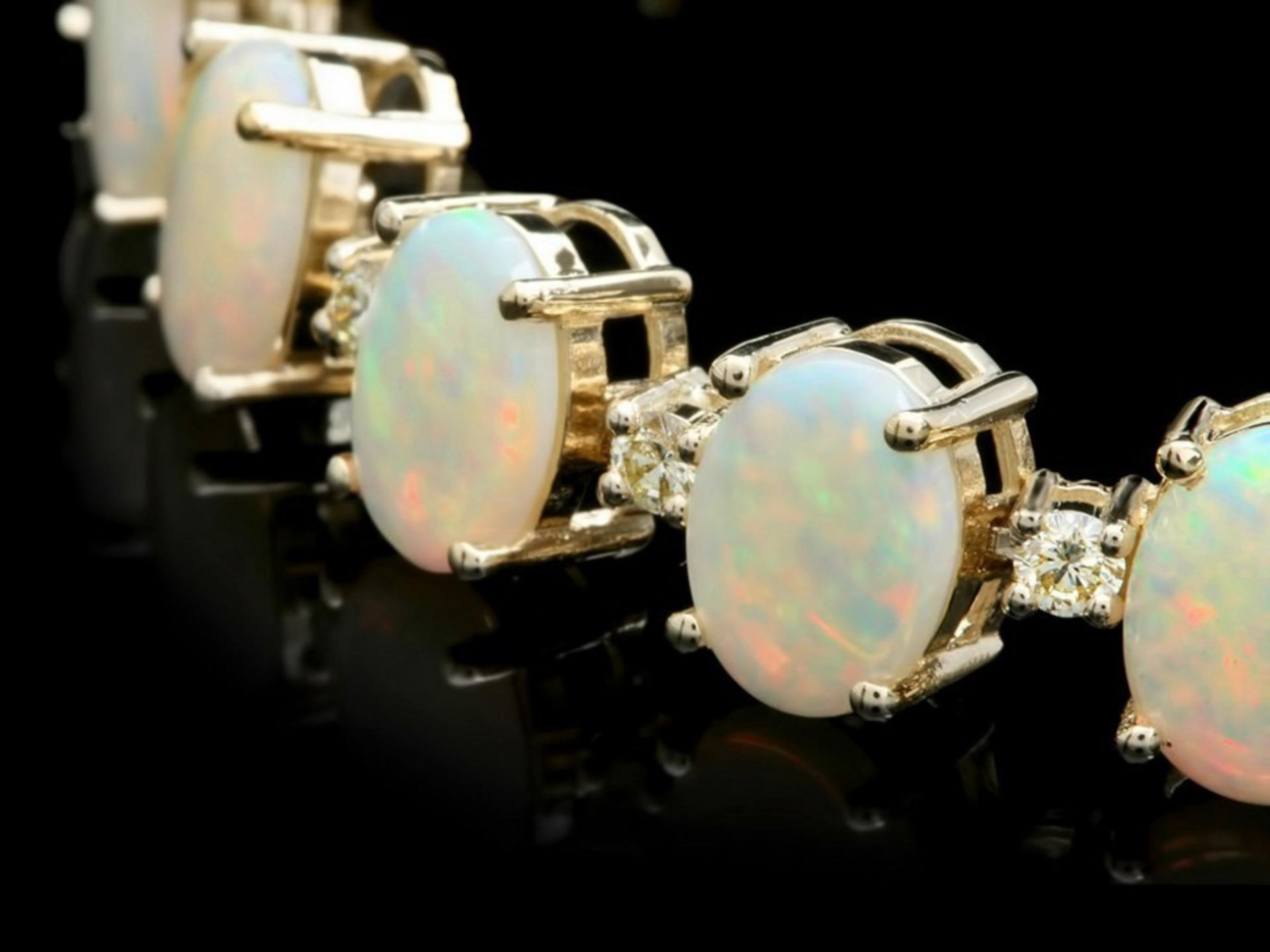 `14k Gold 18.00ct Opal & 1.45ct Diamond Bracelet - Image 2 of 3