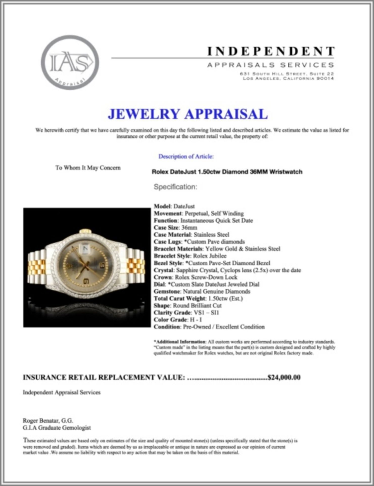 Rolex DateJust 1.50ctw Diamond 36MM Wristwatch - Image 6 of 6