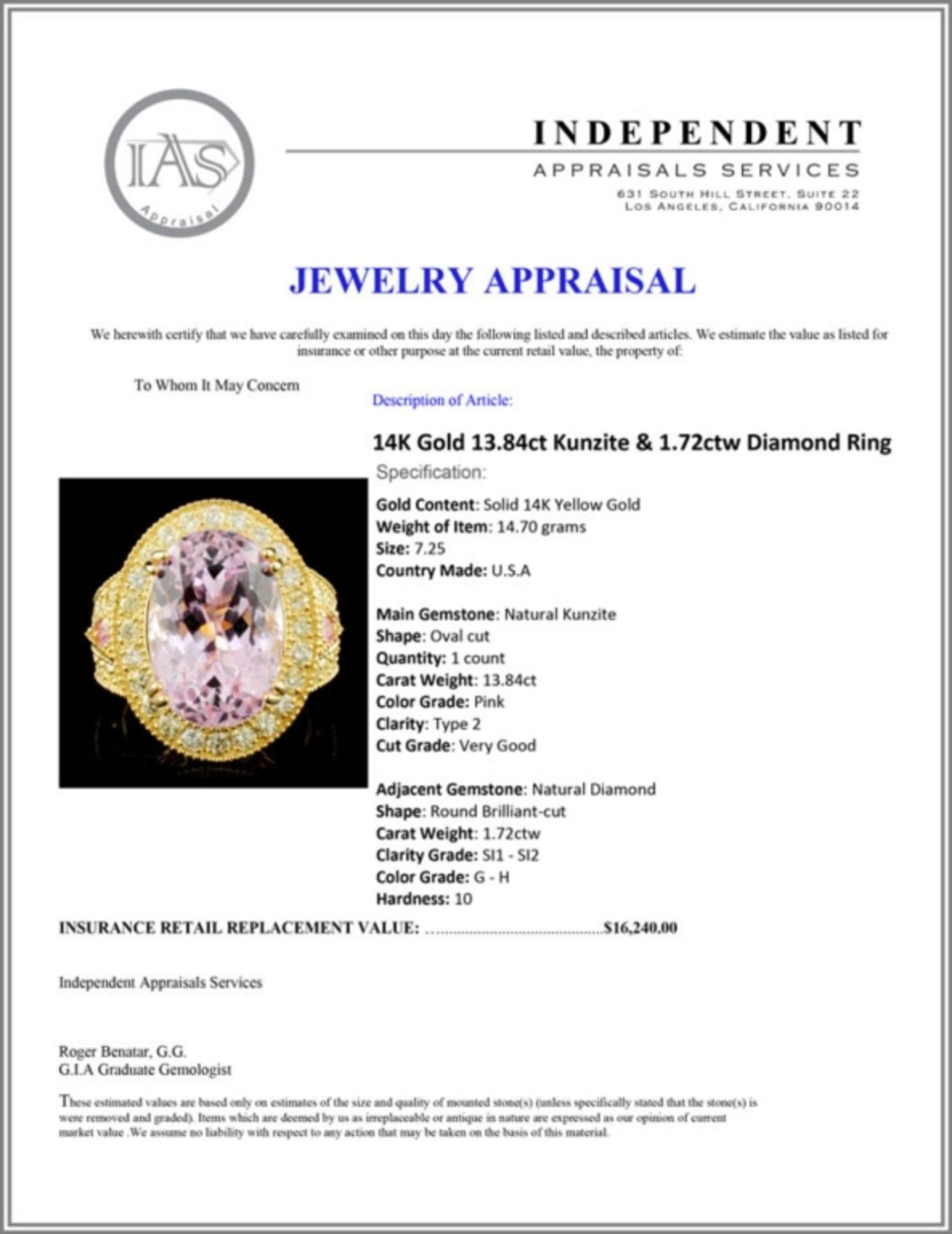 14K Gold 13.84ct Kunzite & 1.72ctw Diamond Ring - Image 5 of 5