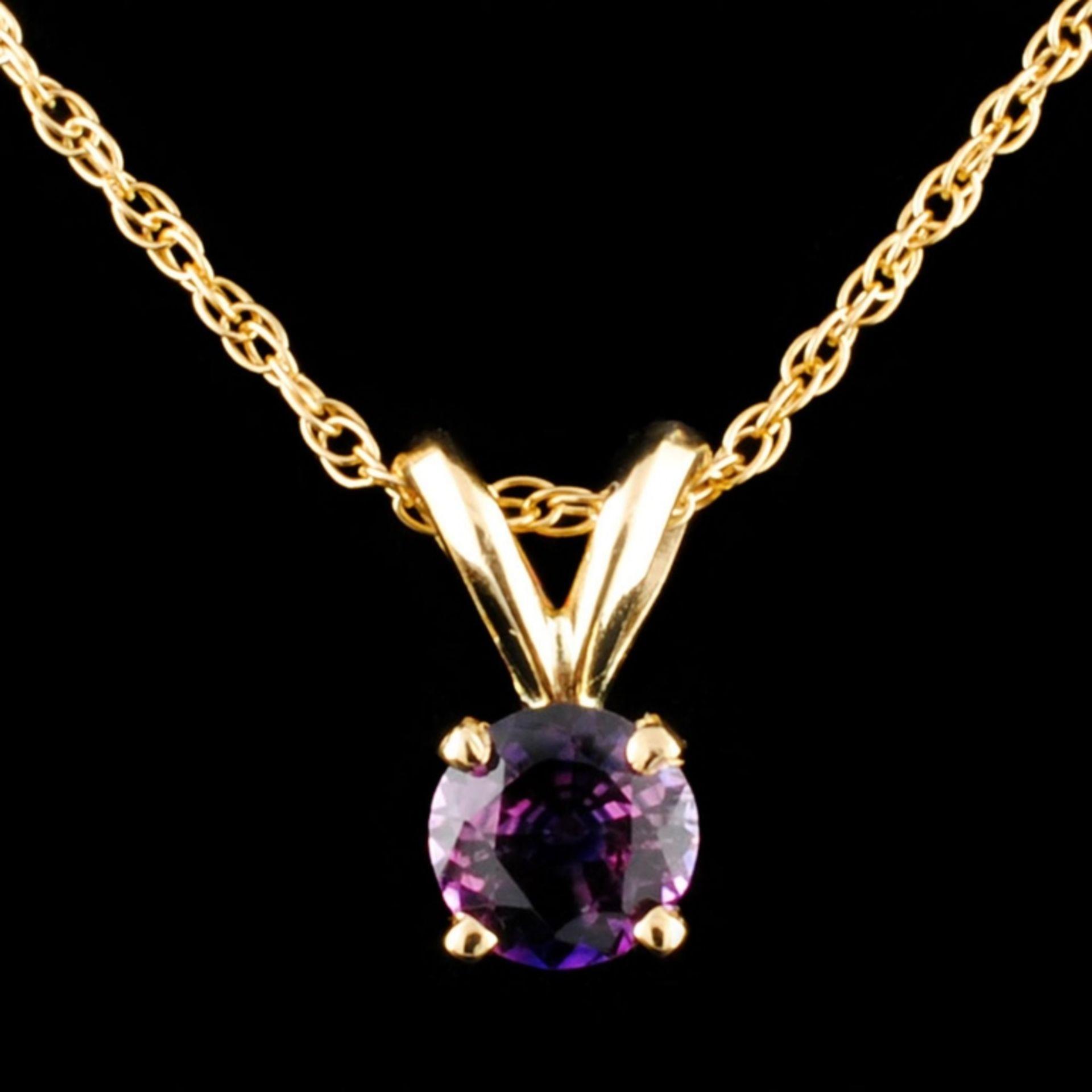 14K Gold 0.50ctw Sapphire Pendant
