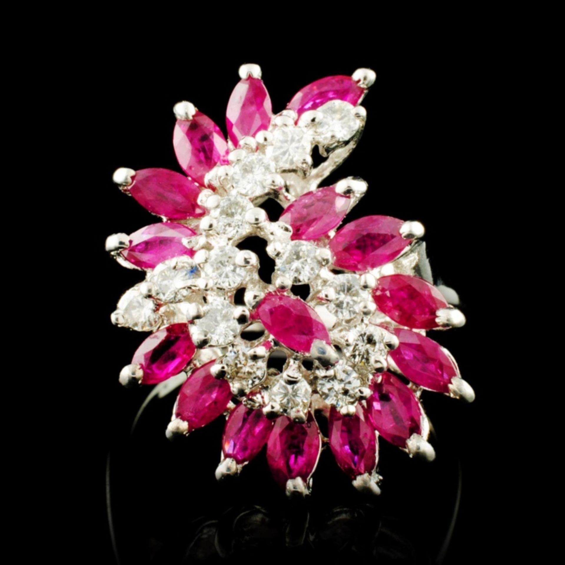 14K Gold 1.92ct Ruby & 0.35ctw Diamond Ring