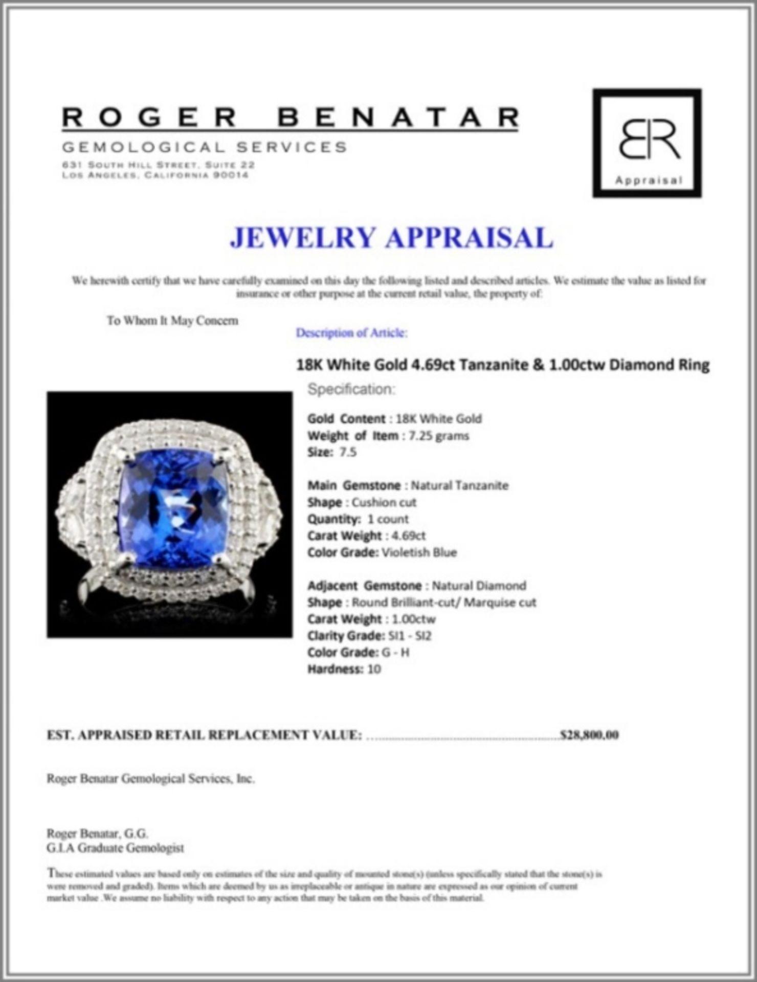 18K White Gold 4.69ct Tanzanite & 1.00ctw Diamond - Image 4 of 4