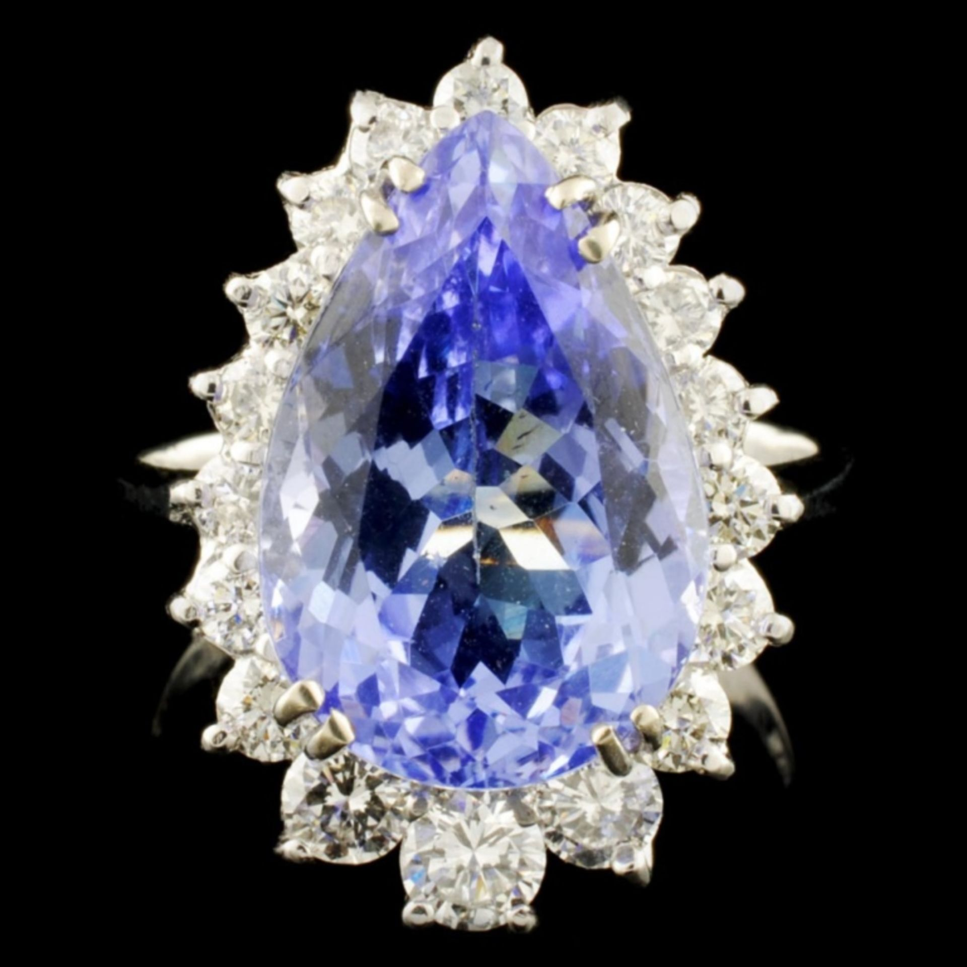 14K Gold 7.07ct Tanzanite & 1.01ctw Diamond Ring