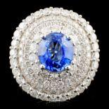 18K Gold 2.80ct Sapphire & 2.40ctw Diamond Ring