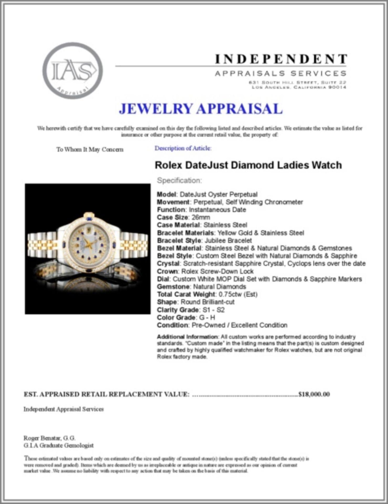 Rolex YG/SS DateJust Diamond Ladies Watch - Image 5 of 5