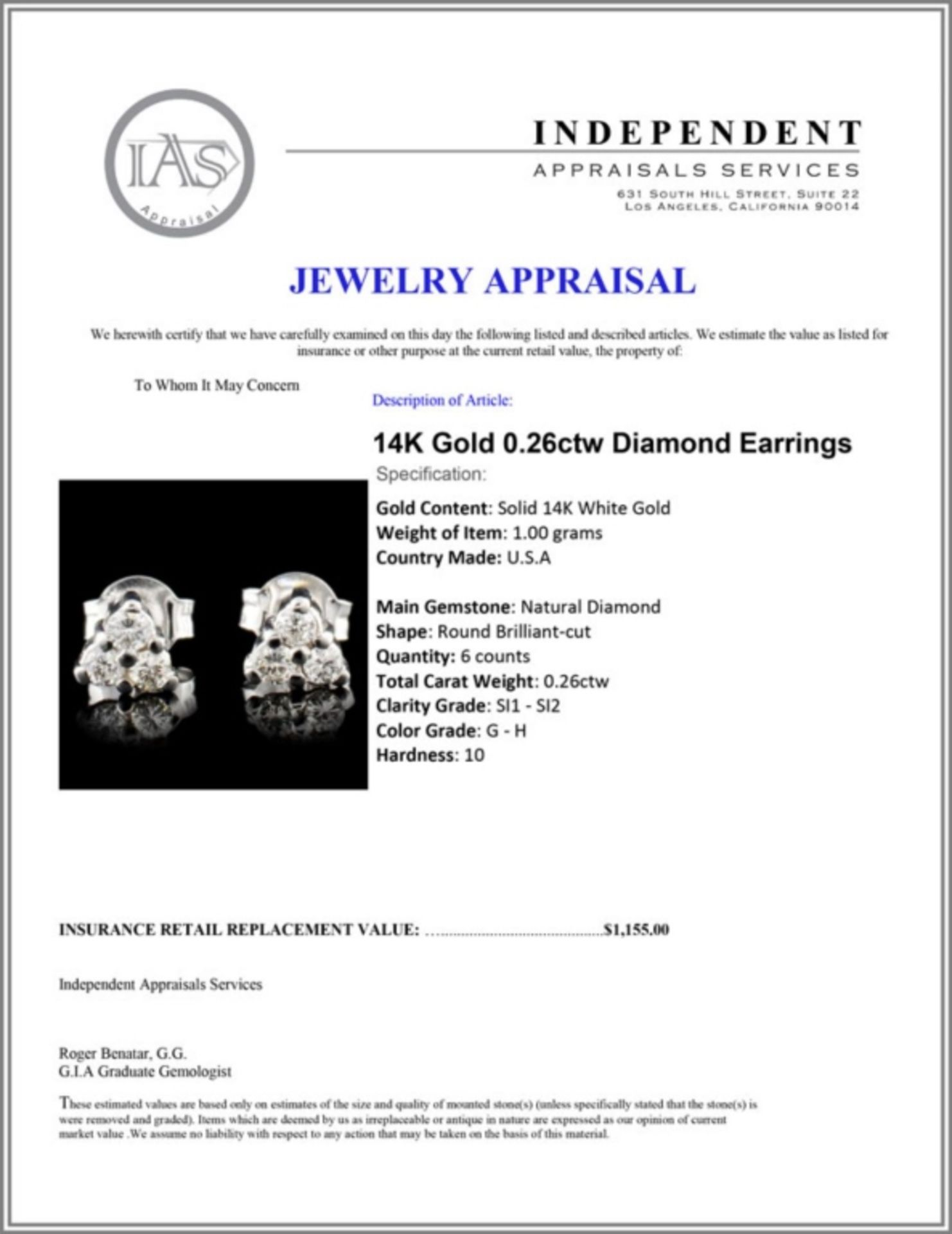 14K Gold 0.26ctw Diamond Earrings - Image 3 of 3