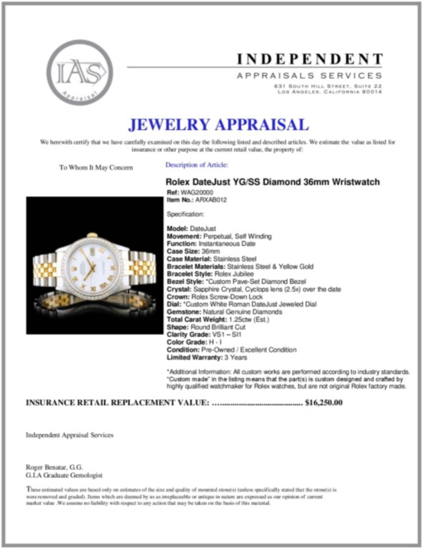 Rolex DateJust YG/SS Diamond 36mm Wristwatch - Image 6 of 6