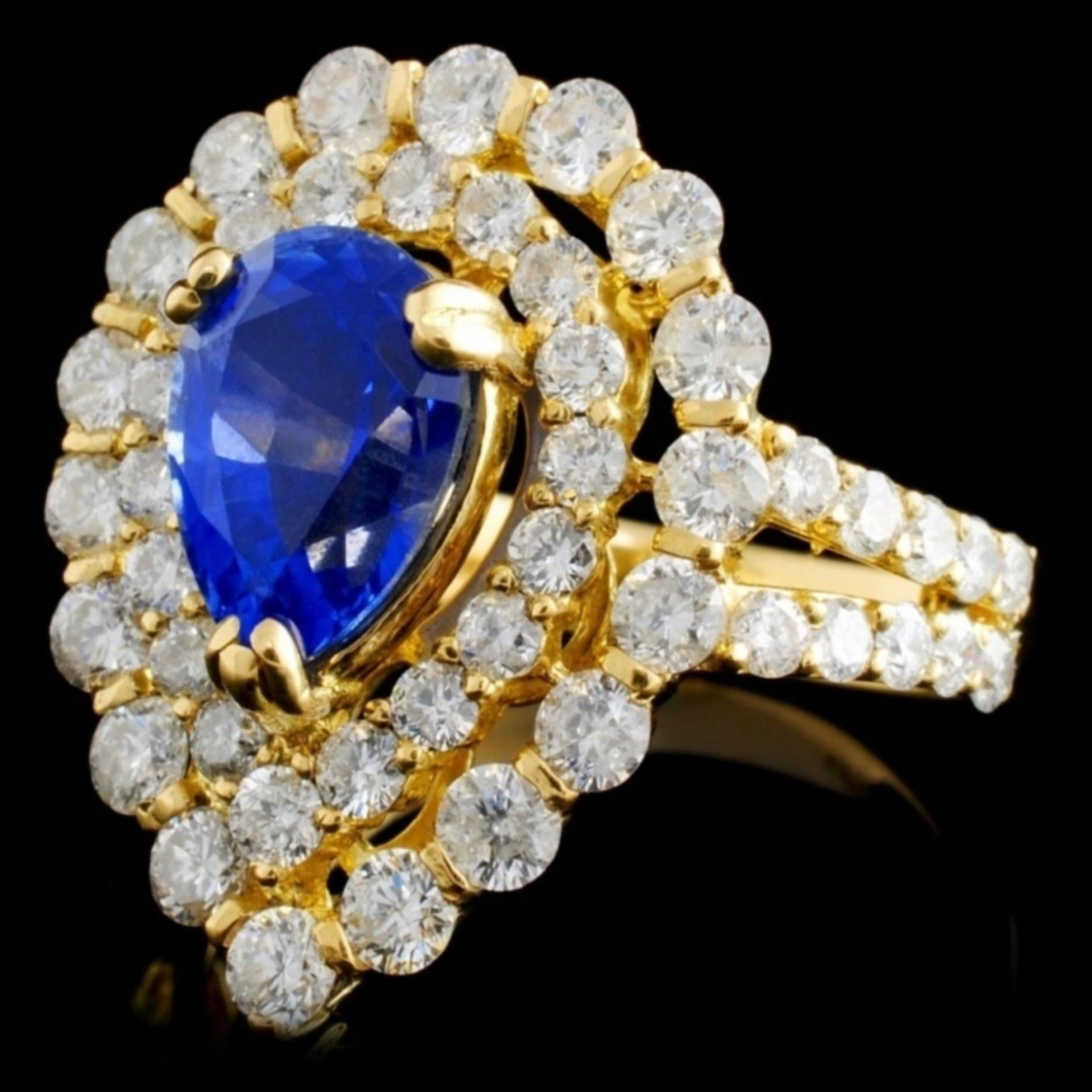 18K Y Gold 2.18ct Sapphire & 1.91ct Diamond Ring - Image 2 of 4