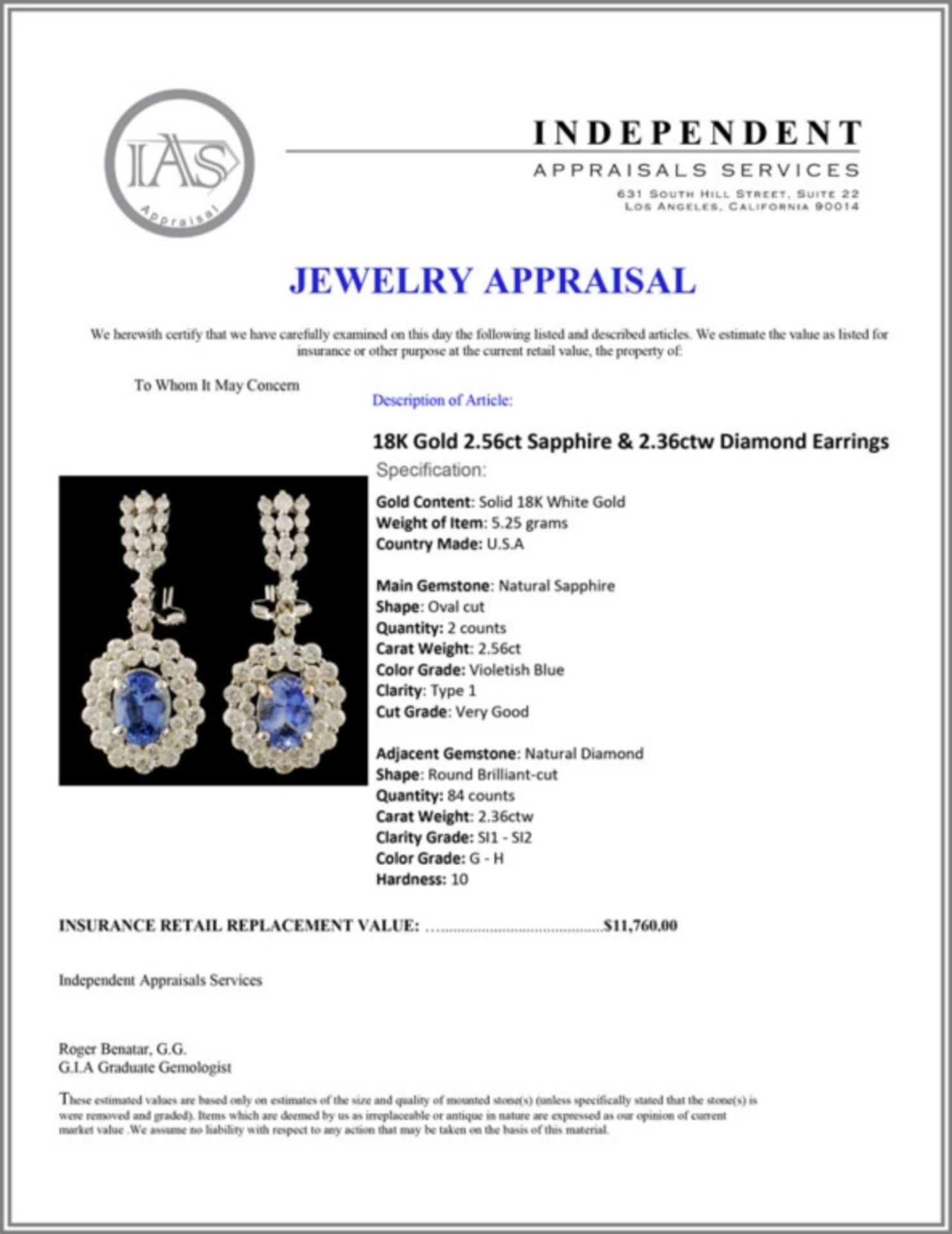 18K Gold 2.56ct Sapphire & 2.36ctw Diamond Earring - Image 3 of 3