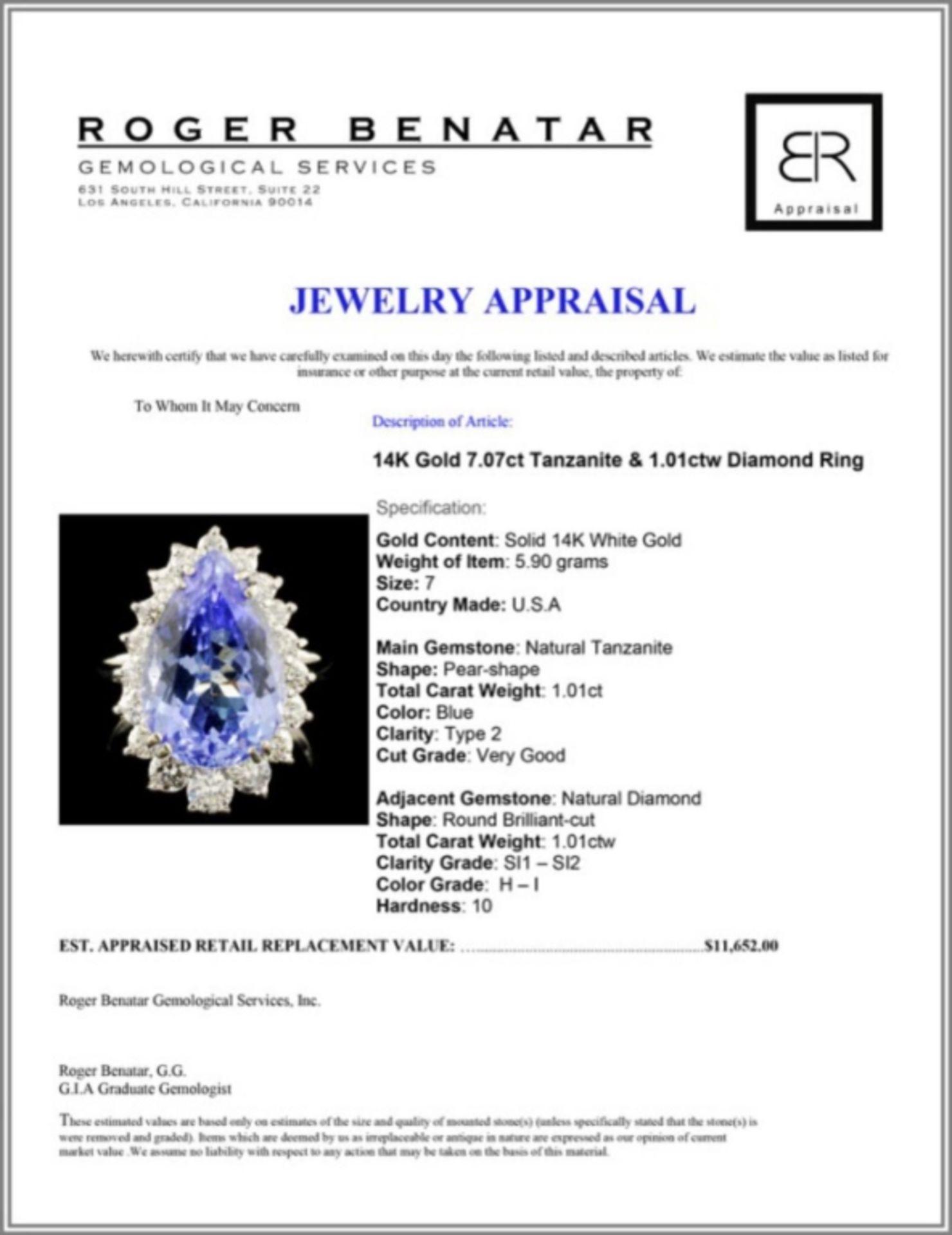 14K Gold 7.07ct Tanzanite & 1.01ctw Diamond Ring - Image 5 of 5