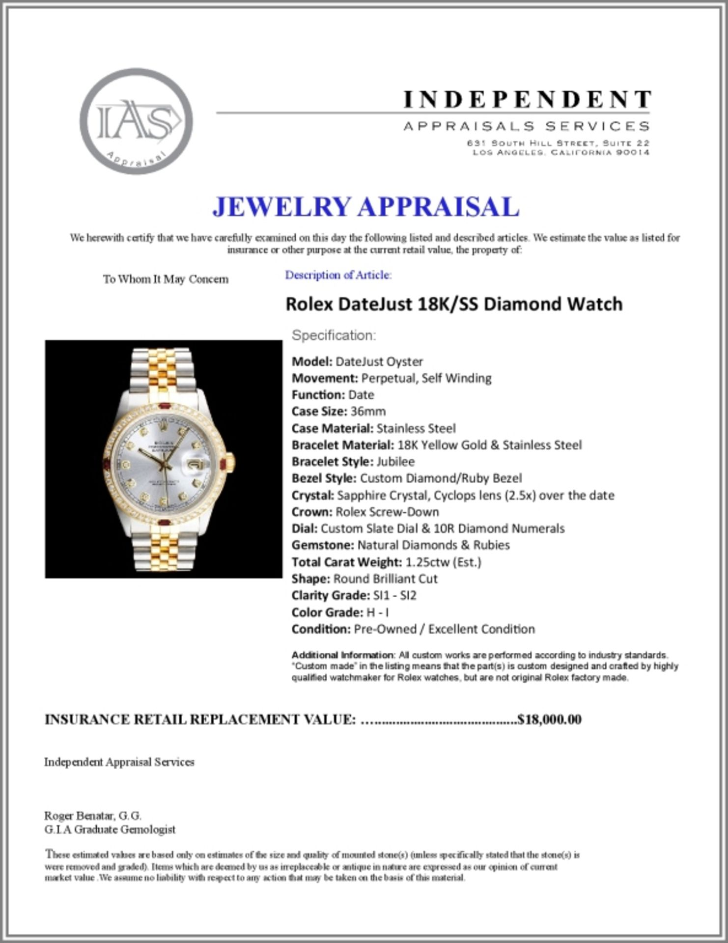 Rolex DateJust 18K/SS Diamond 36mm Watch - Image 6 of 6