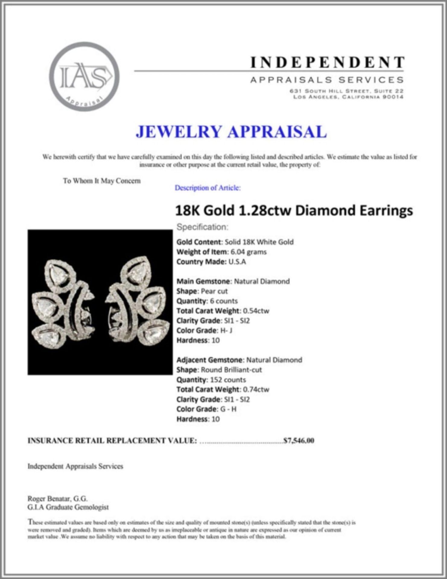 18K Gold 1.28ctw Diamond Earrings - Image 3 of 3