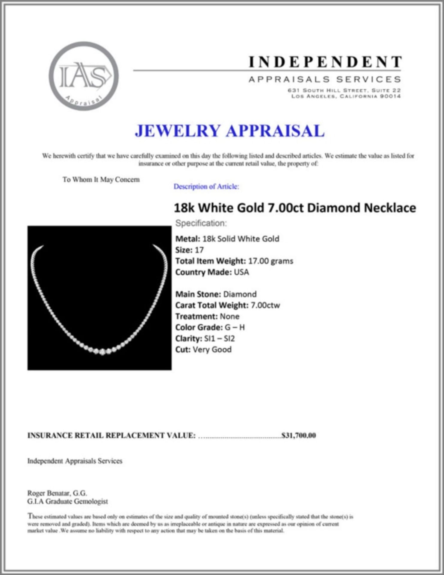 ^18k White Gold 7.00ct Diamond Necklace - Image 3 of 3