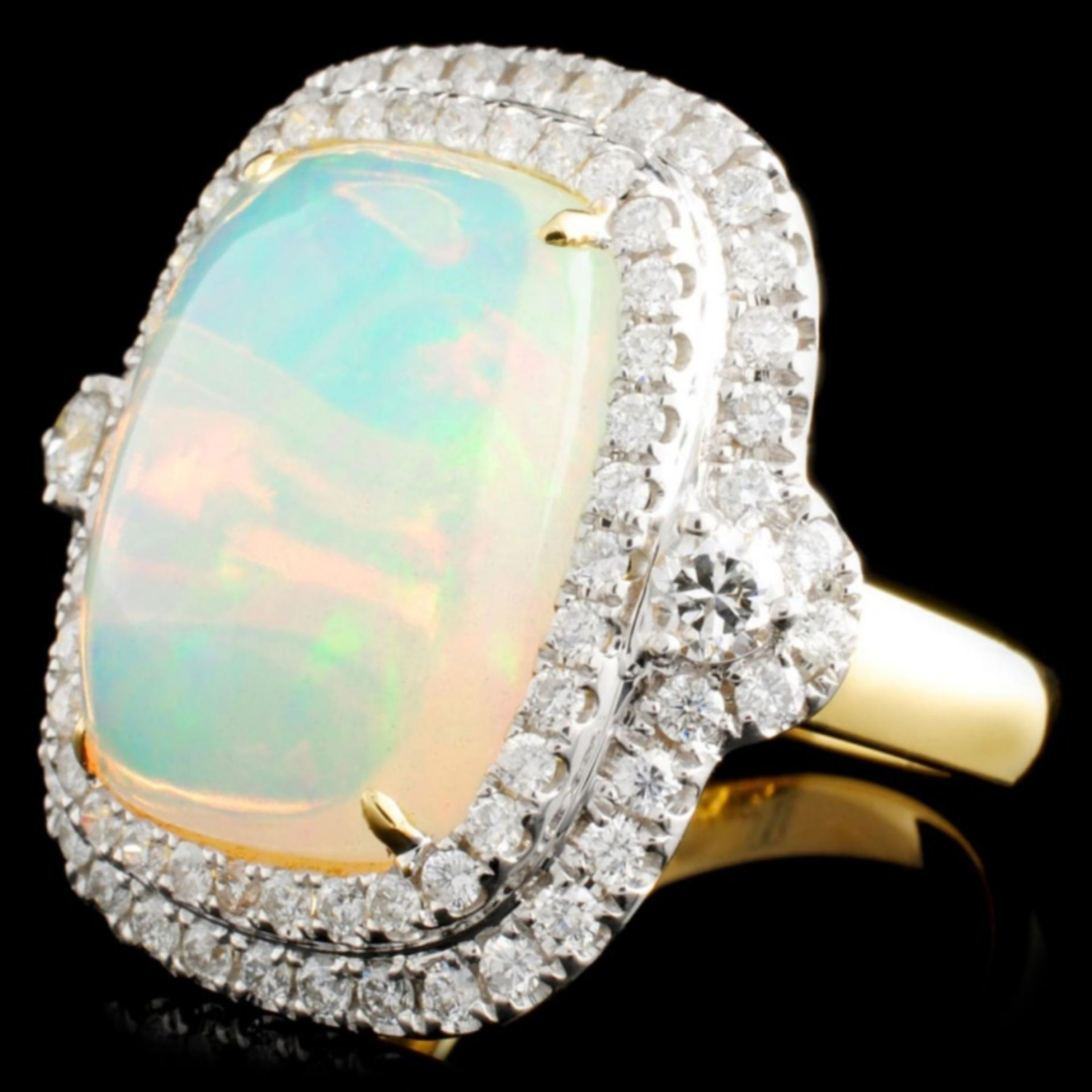18K Gold 8.34ct Opal & 1.30ctw Diamond Ring - Image 2 of 5