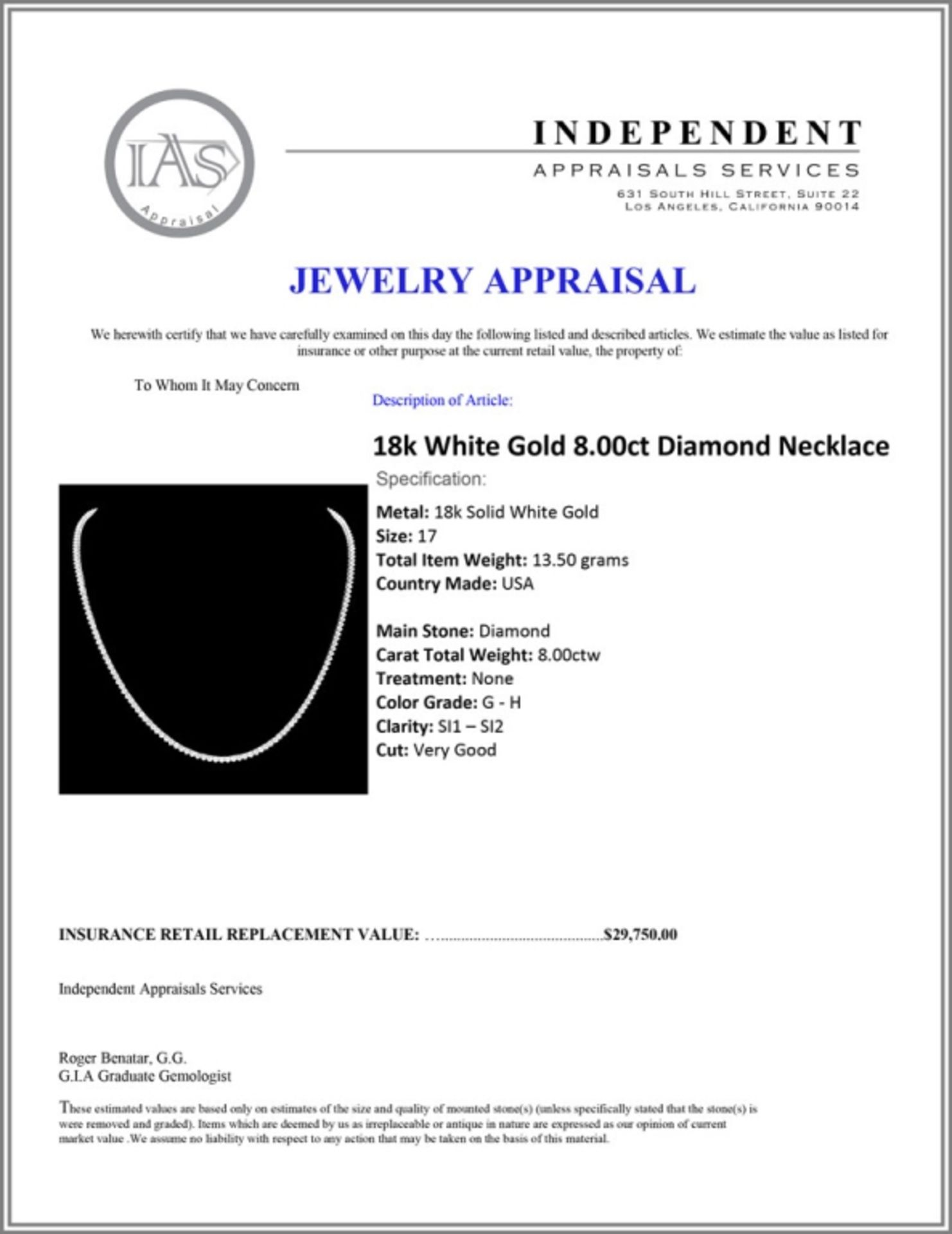 18k White Gold 8.00ct Diamond Necklace - Image 4 of 4