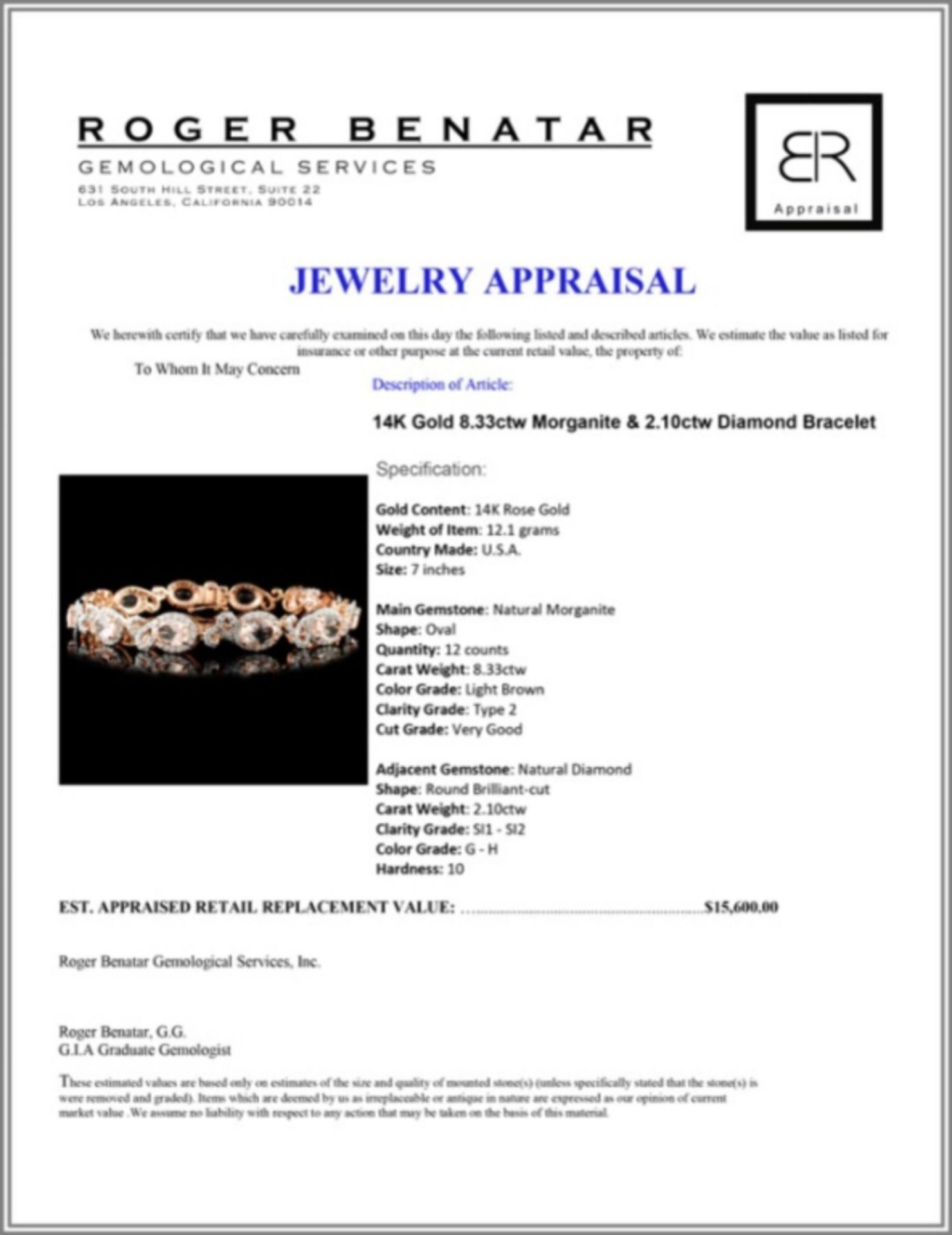 14K Gold 8.33ctw Morganite & 2.10ctw Diamond Brace - Image 3 of 3