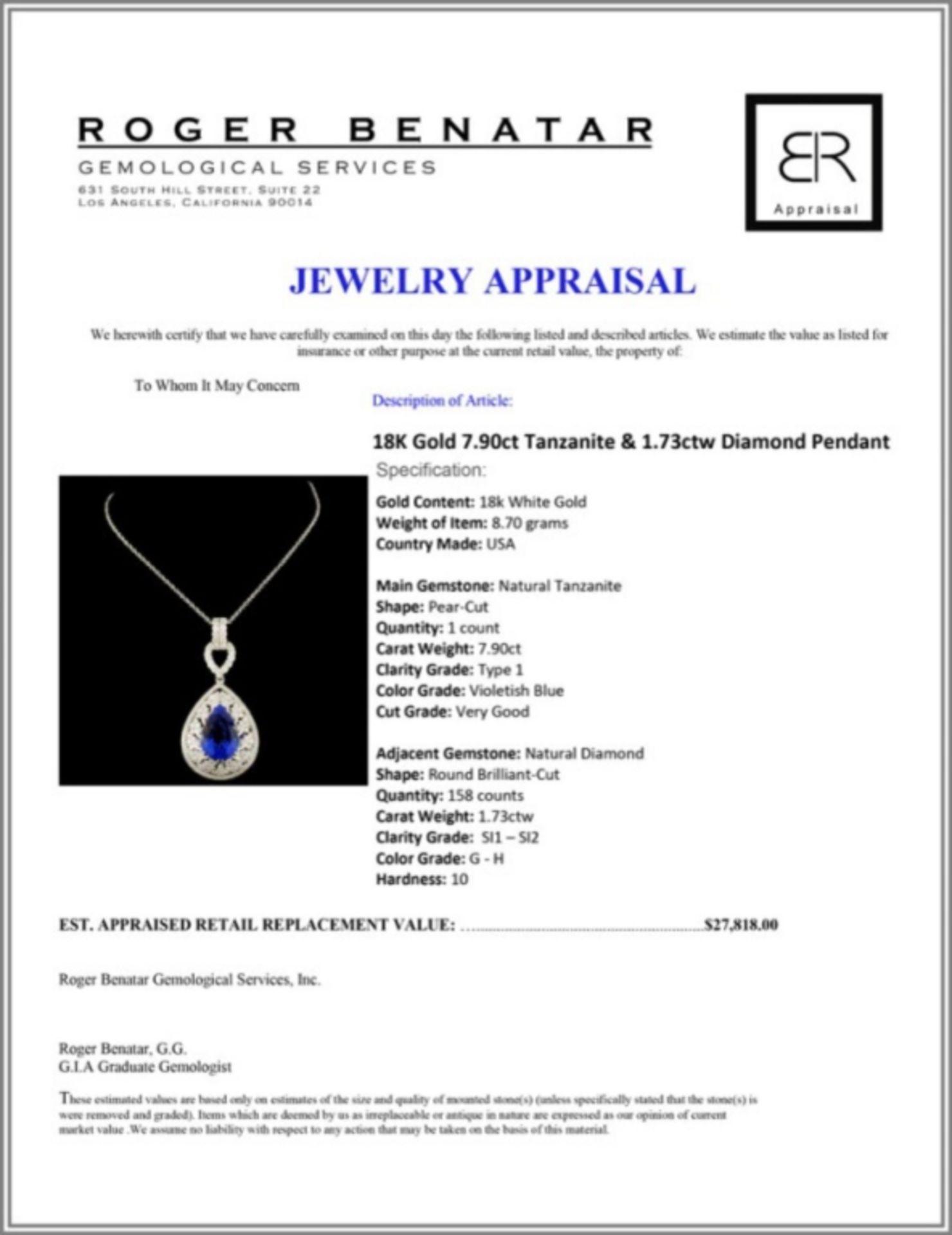 18K Gold 7.90ct Tanzanite & 1.73ctw Diamond Pendan - Image 4 of 4