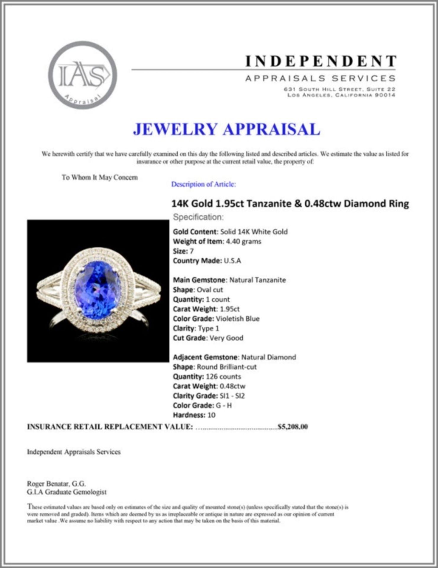 14K Gold 1.95ct Tanzanite & 0.48ctw Diamond Ring - Image 5 of 5