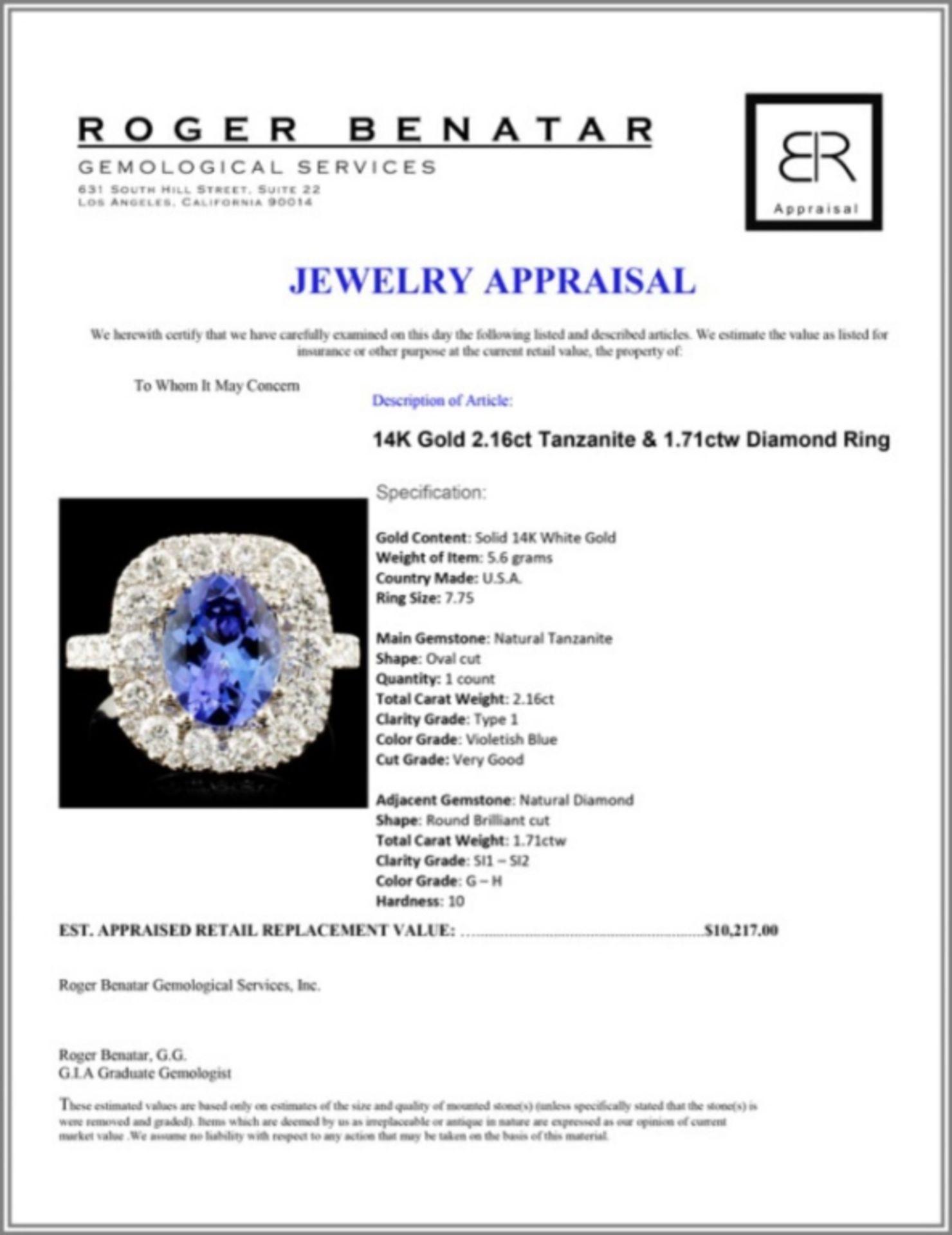14K Gold 2.16ct Tanzanite & 1.71ctw Diamond Ring - Image 4 of 4