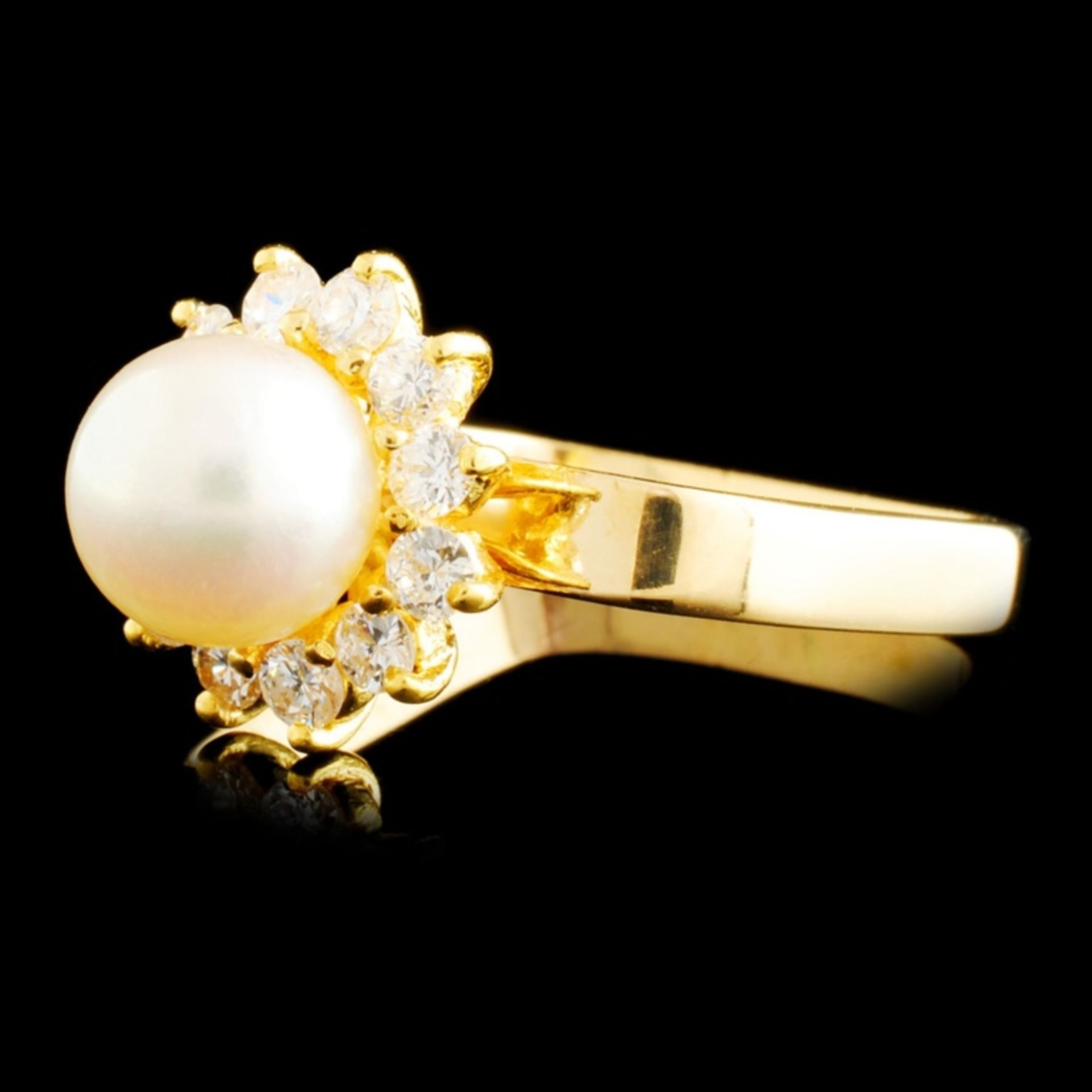14K Gold 7.00MM Pearl & 0.42ctw Diamond Ring - Image 2 of 4