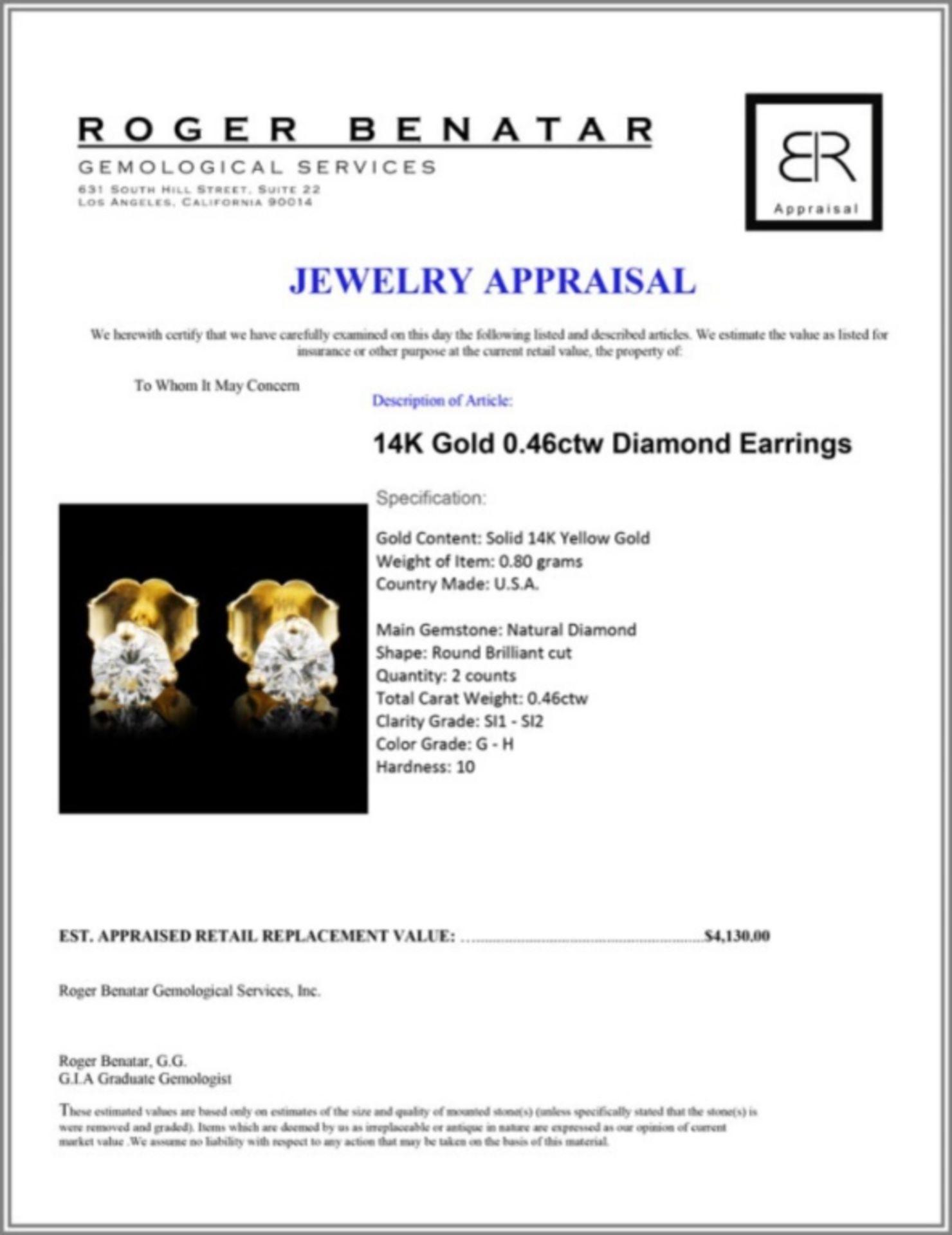 14K Gold 0.46ctw Diamond Earrings - Image 3 of 3