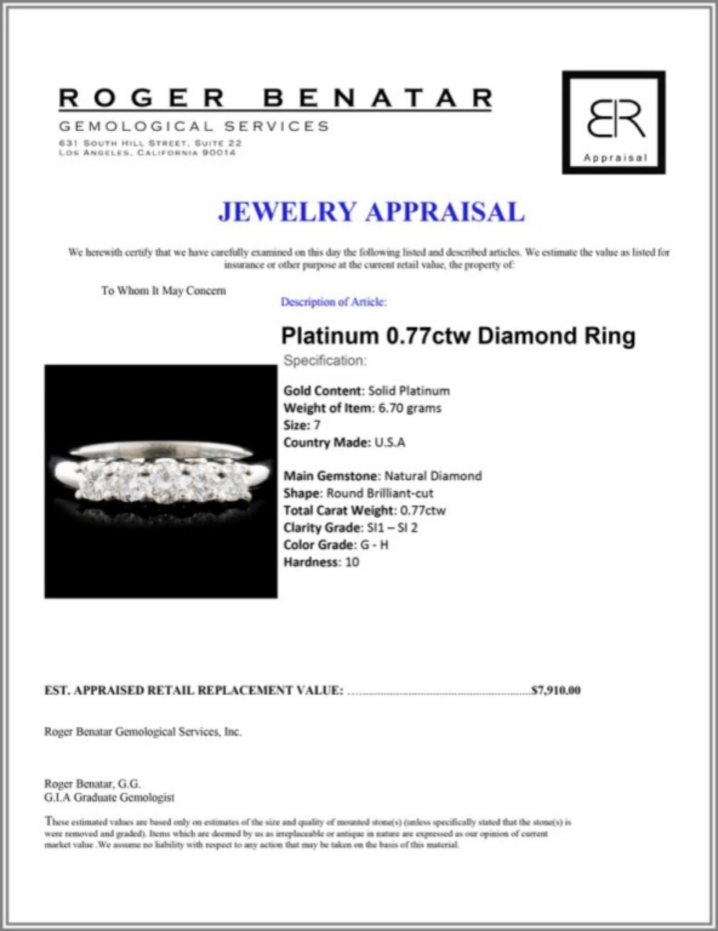 Platinum 0.77ctw Diamond Ring - Image 3 of 3