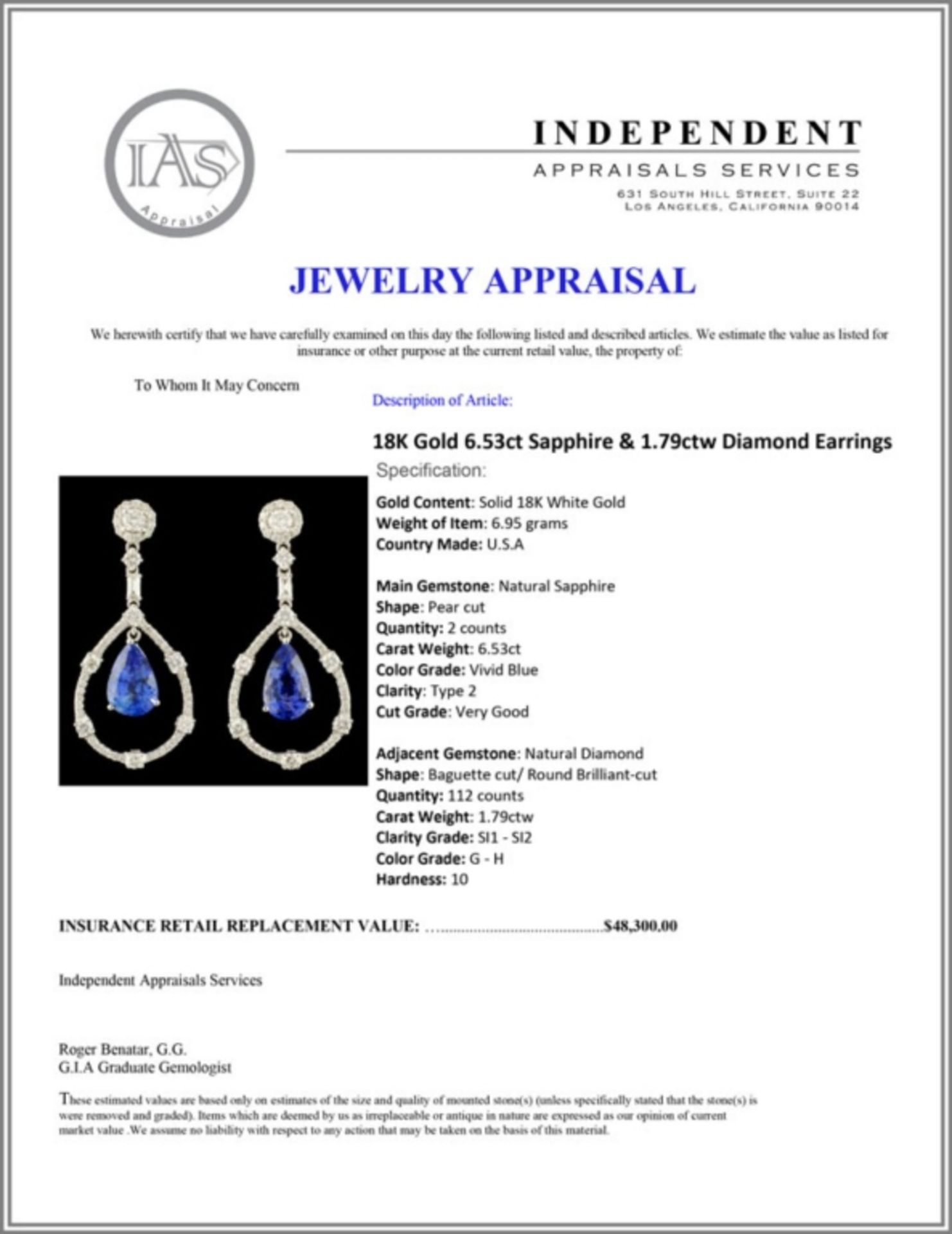 18K Gold 6.53ct Sapphire & 1.79ctw Diamond Earring - Image 3 of 3