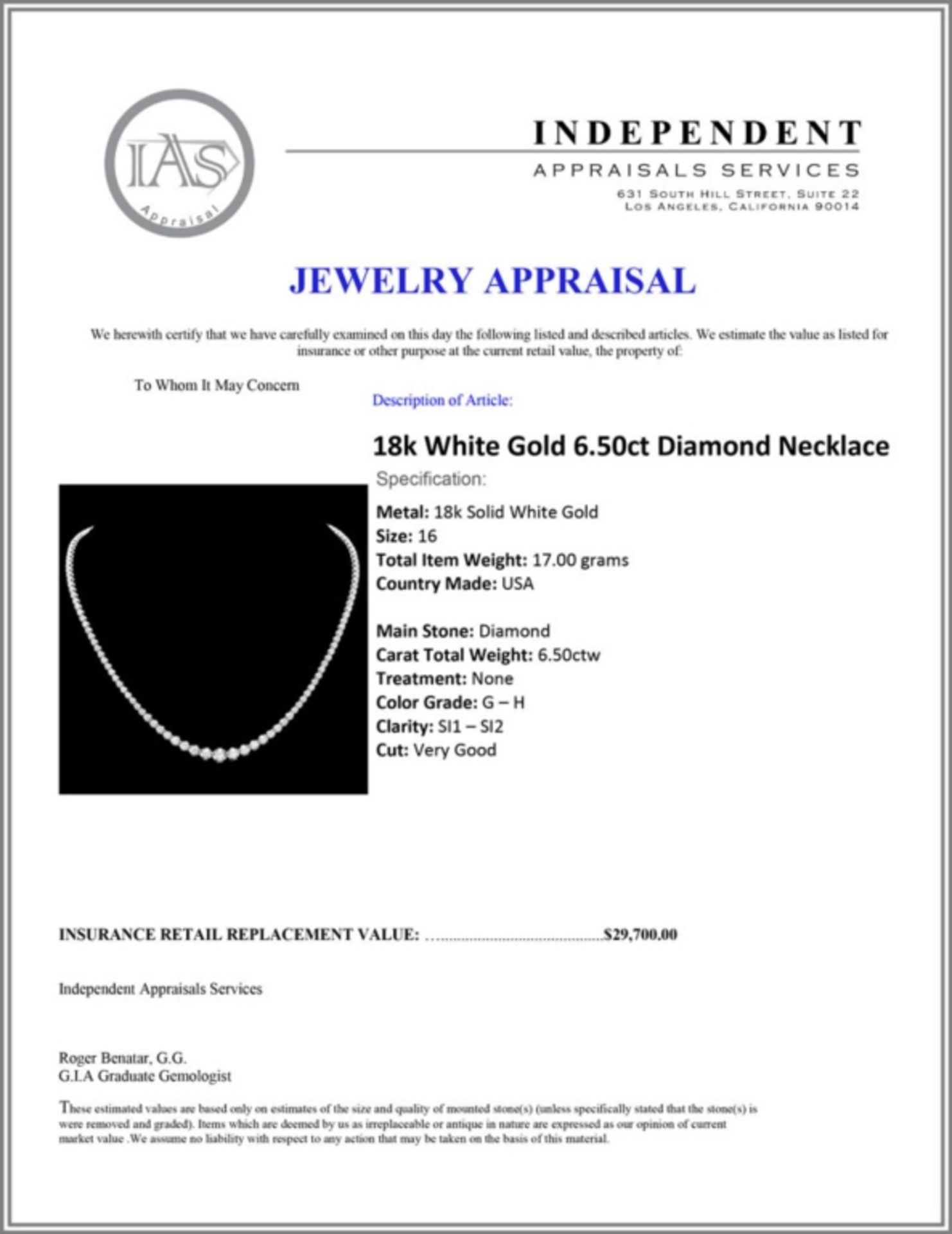 ^18k White Gold 6.50ct Diamond Necklace - Image 3 of 3