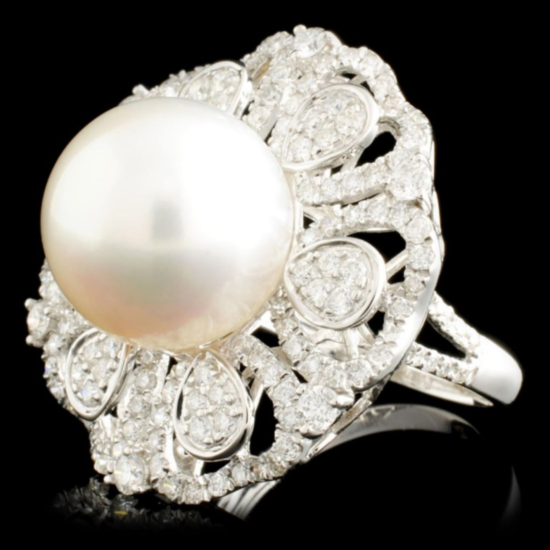 18K Gold 13MM Pearl & 1.61ctw Diamond Ring - Image 2 of 5