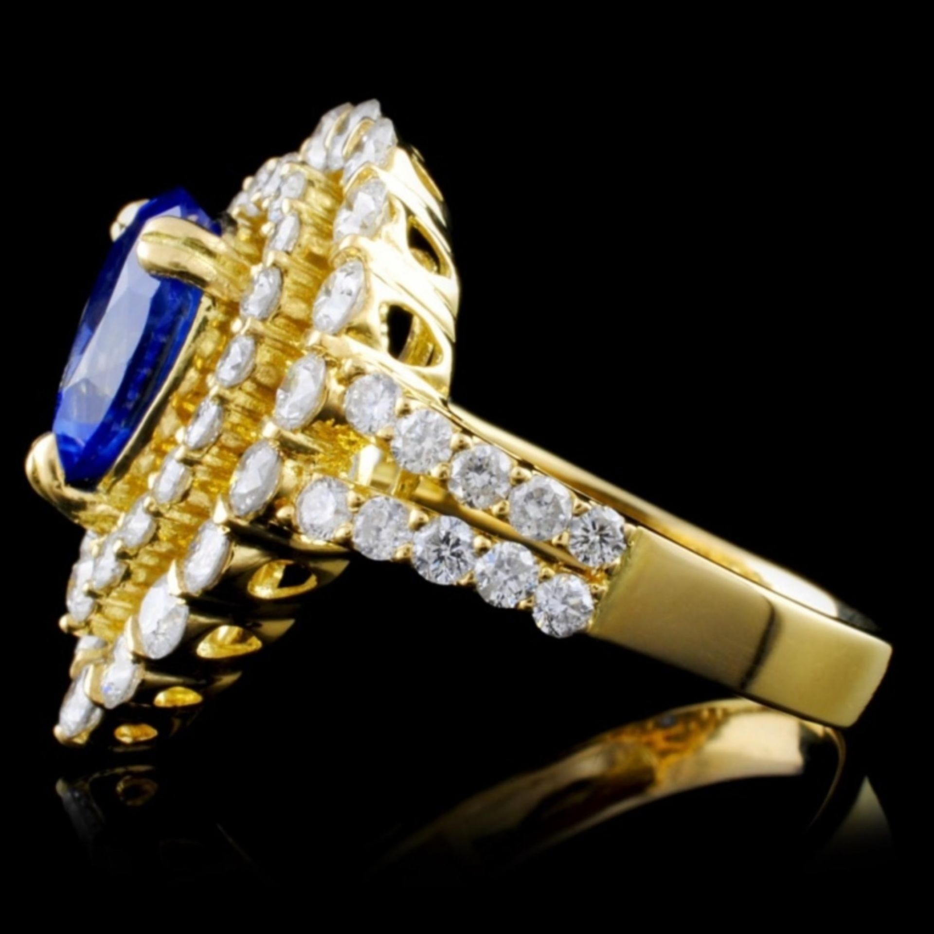 18K Y Gold 2.18ct Sapphire & 1.91ct Diamond Ring - Image 3 of 4