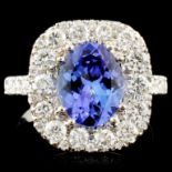 14K Gold 2.16ct Tanzanite & 1.71ctw Diamond Ring