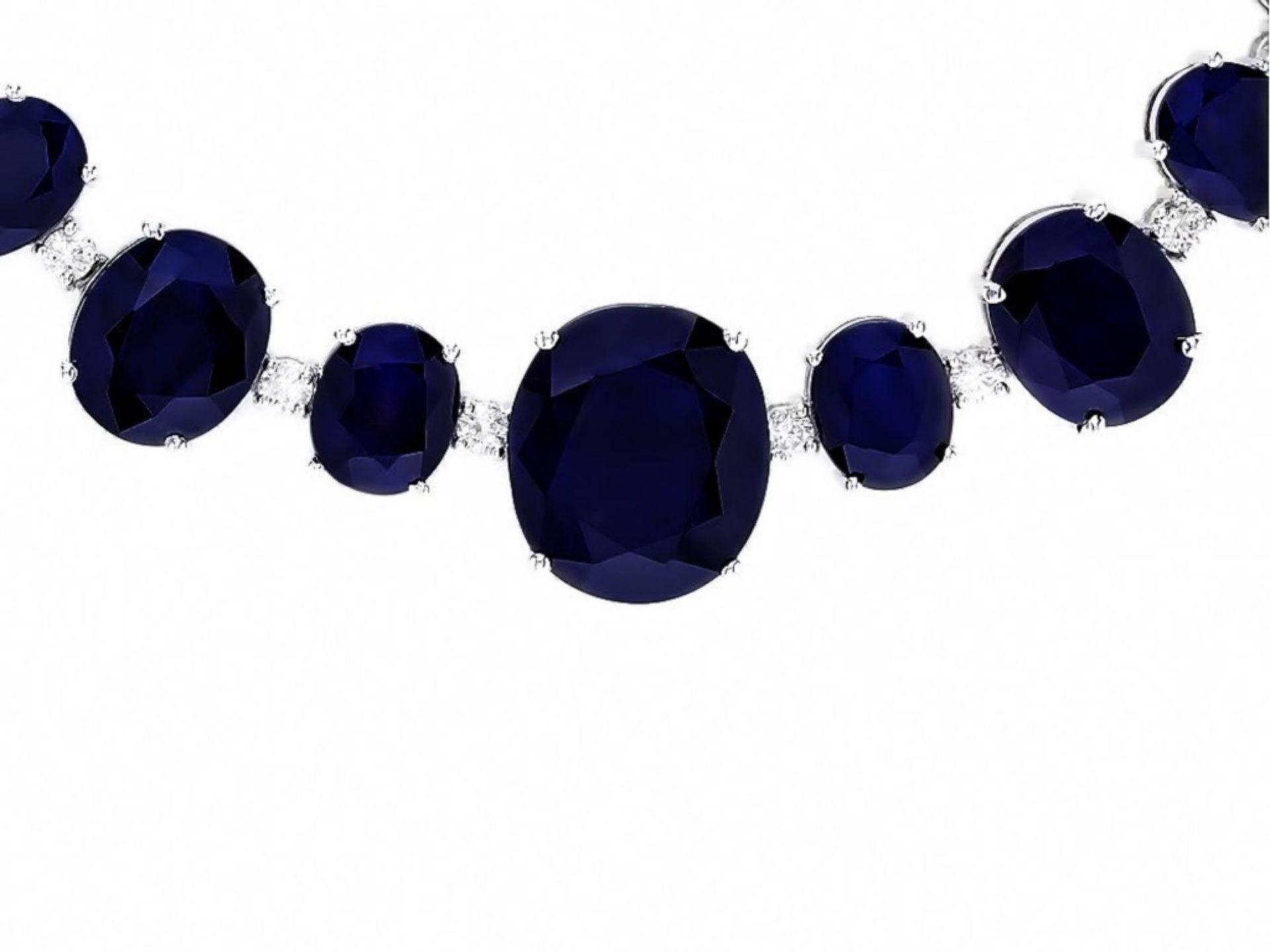 `14k Gold 170.00ct Sapphire & 2.00ct Diamond Neckl - Image 4 of 5
