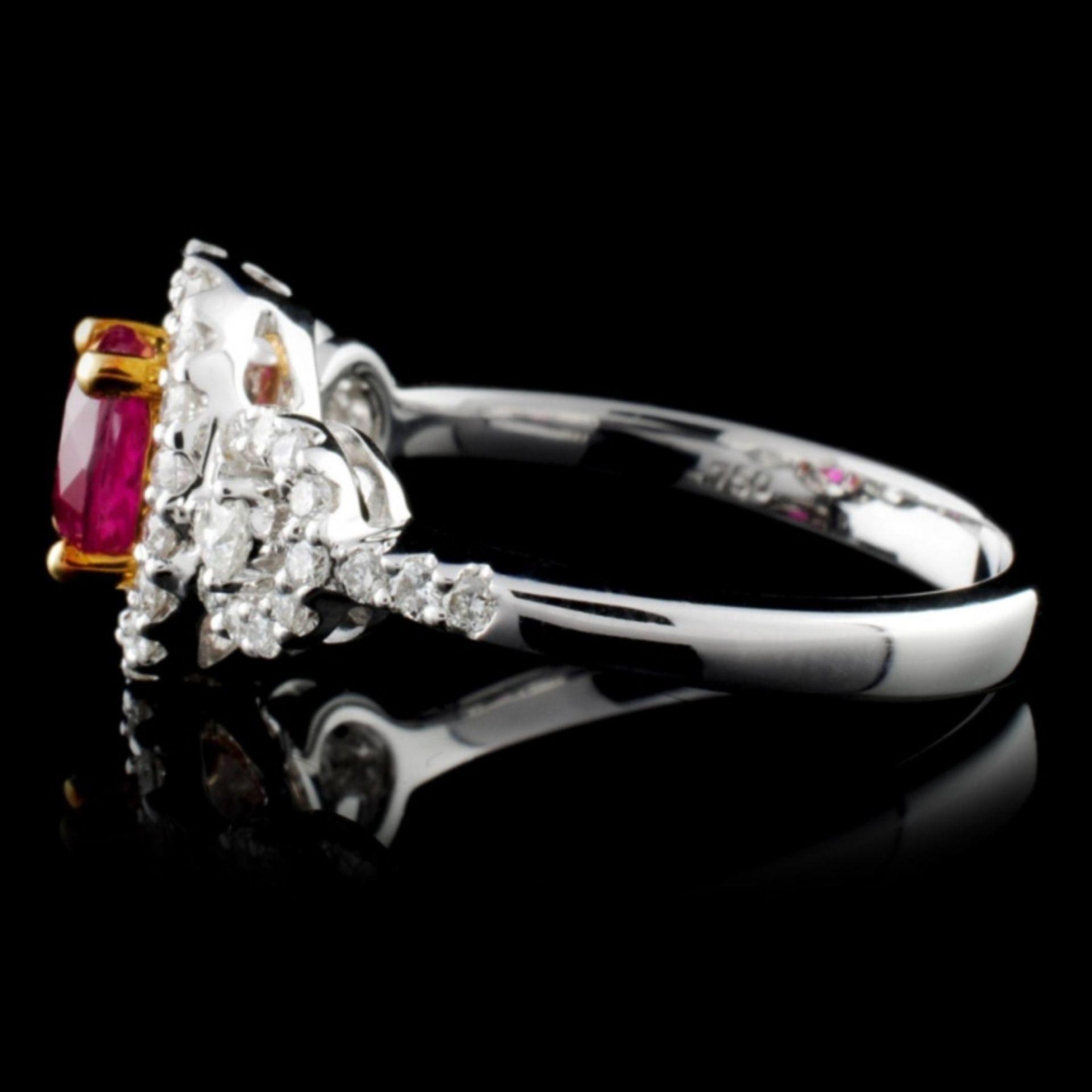 18K White Gold 0.98ct Ruby & 0.50ct Diamond Ring - Image 3 of 4