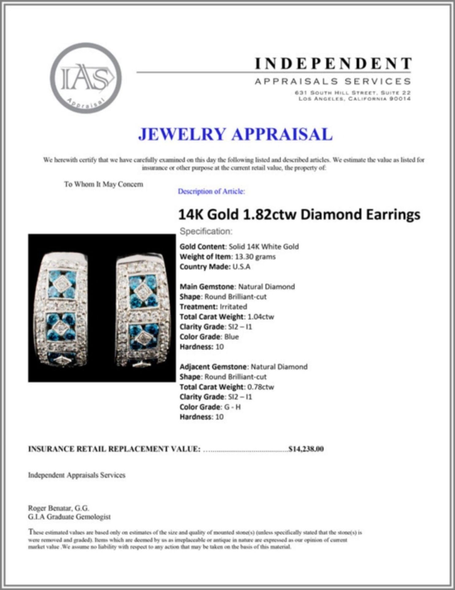14K Gold 1.82ctw Diamond Earrings - Image 3 of 3