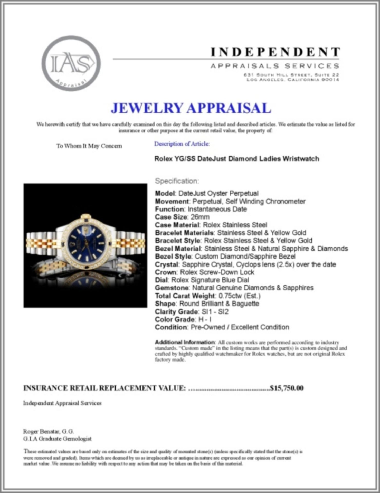 Rolex YG/SS DateJust 1.00ct Diamond Ladies Wristwa - Image 5 of 5