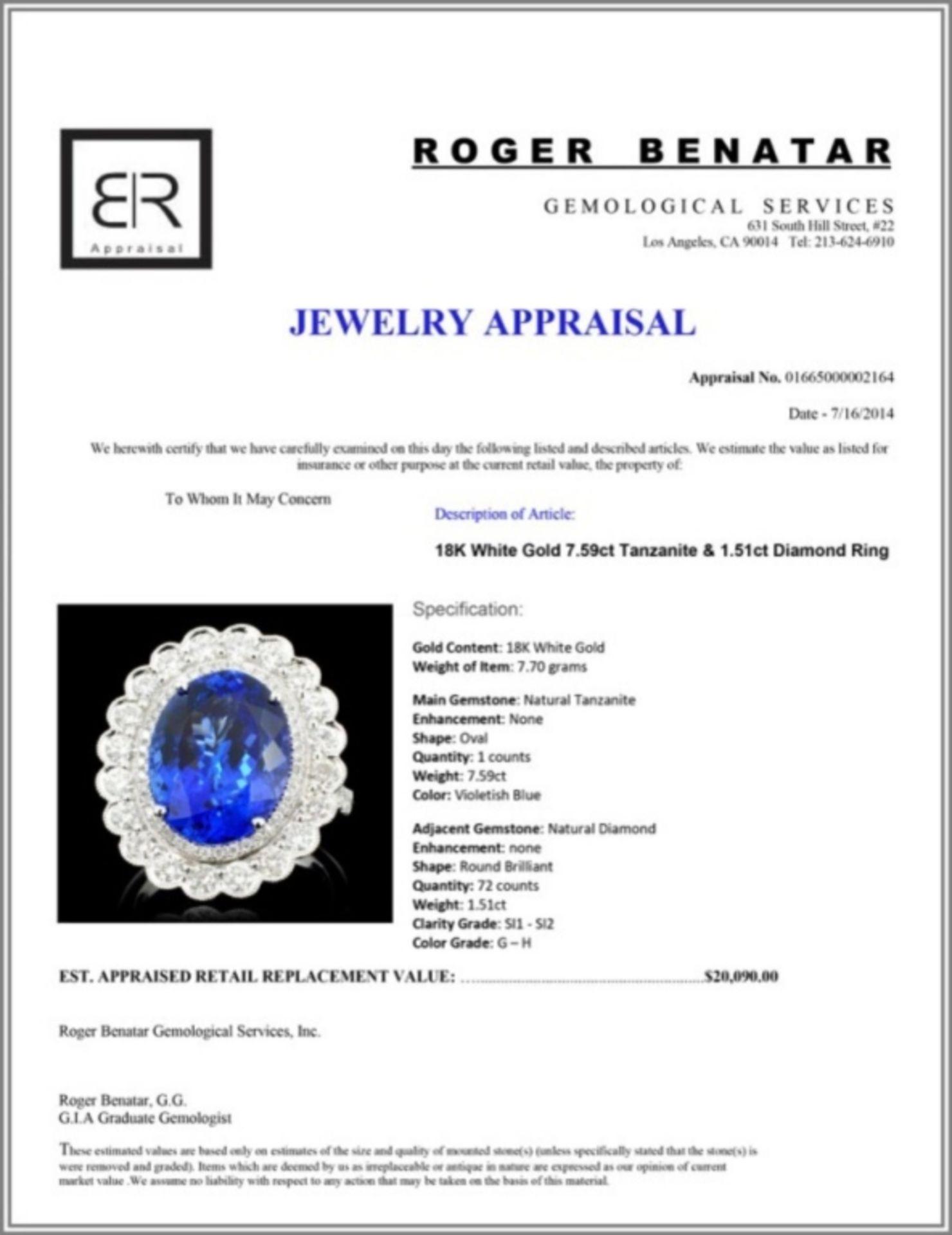 18K Gold 7.59ct Tanzanite & 1.51ct Diamond Ring - Image 4 of 4