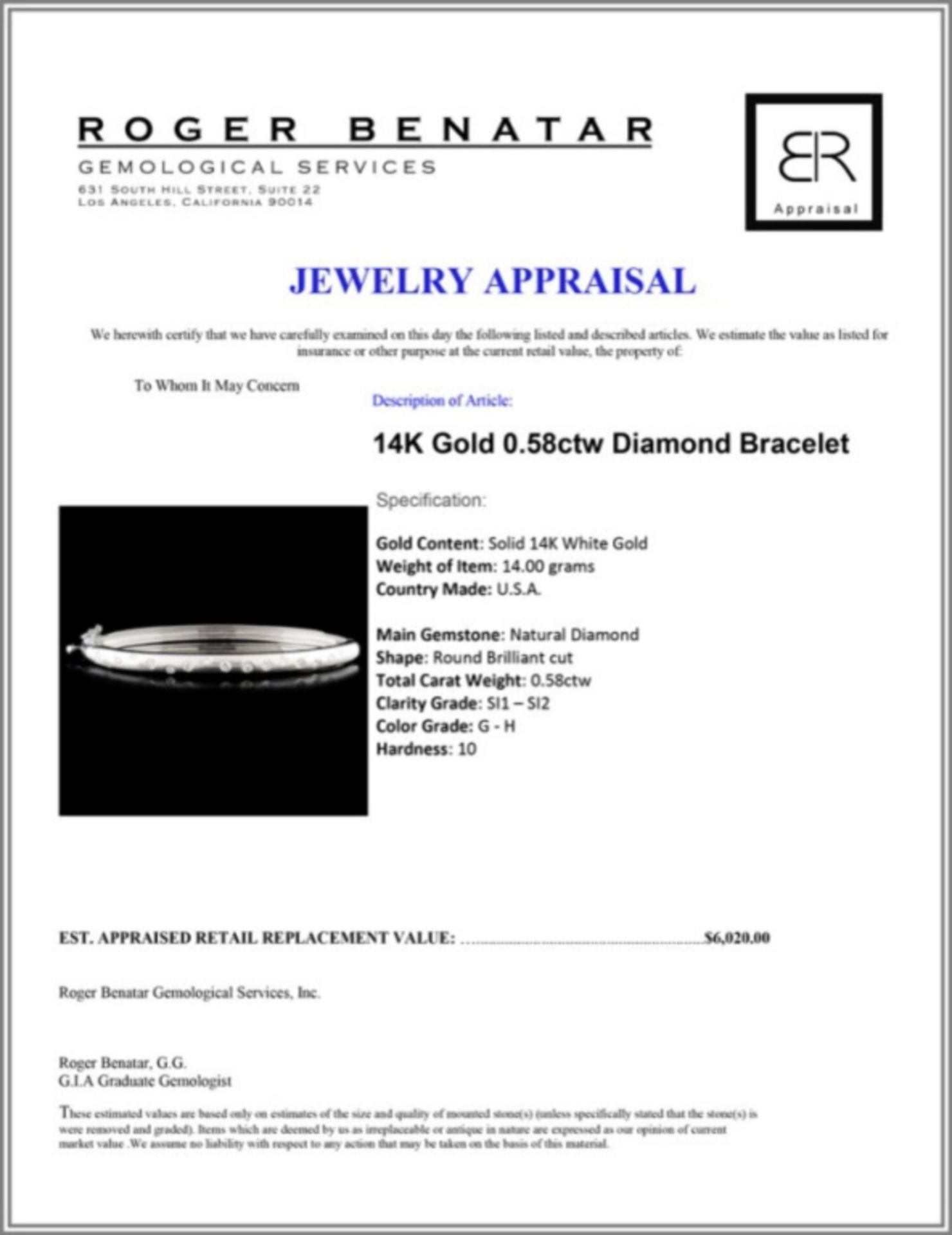 14K Gold 0.58ctw Diamond Bracelet - Image 3 of 3
