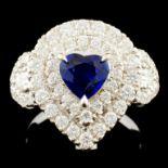 18K Gold 0.85ct Sapphire & 1.43ctw Diamond Ring