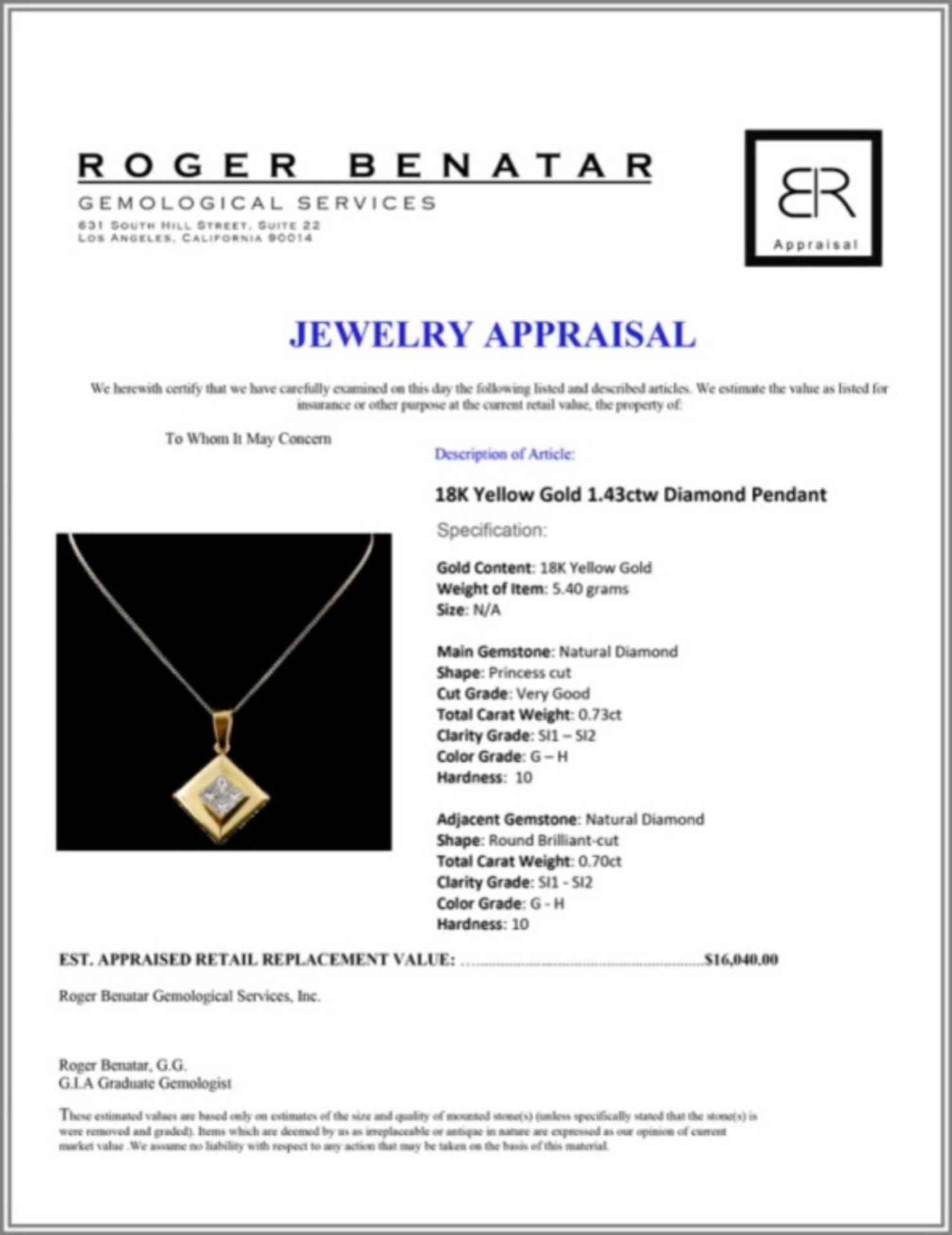 18K Yellow Gold 1.43ctw Diamond Pendant - Image 3 of 3