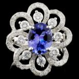 18K White Gold 1.75ct Tanzanite & 1.22ct Diamond R