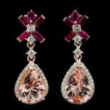 14K Gold 6.50ct Morganite & 0.67ctw Diamond Earrin